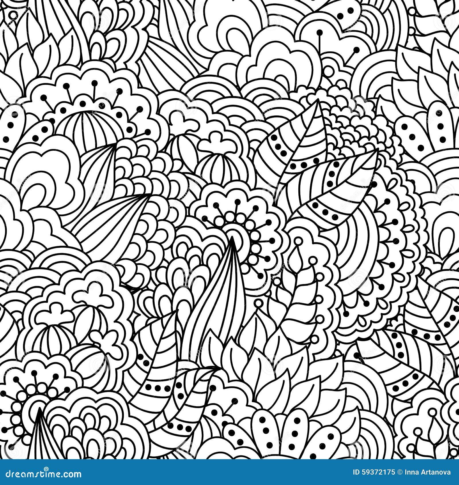 Seamless floral pattern for coloring book stock vector image 59372175 for Disegni calciatori da colorare per bambini