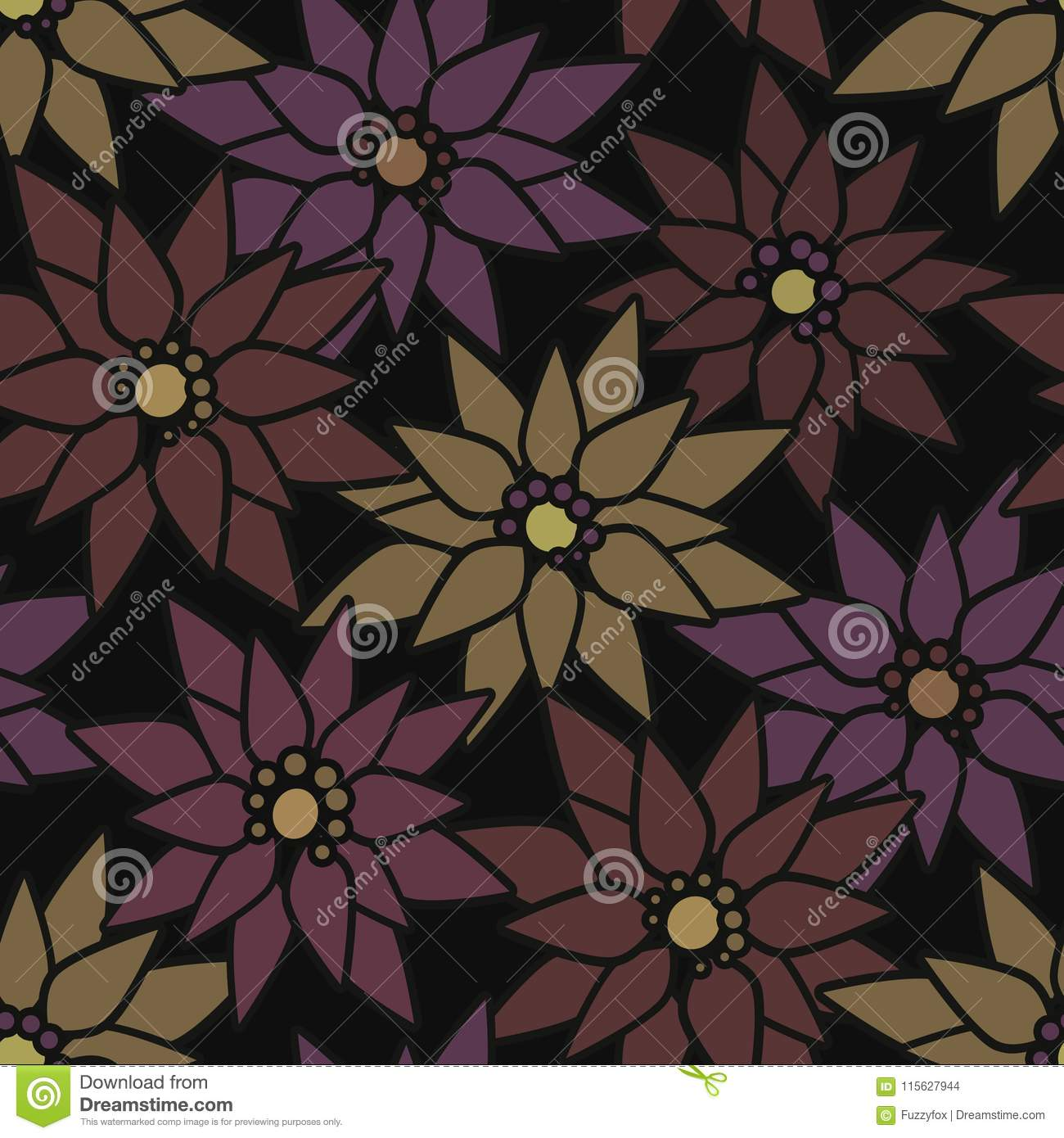 Seamless Floral Pattern With Cute Cartoon Flowers Print Stock
