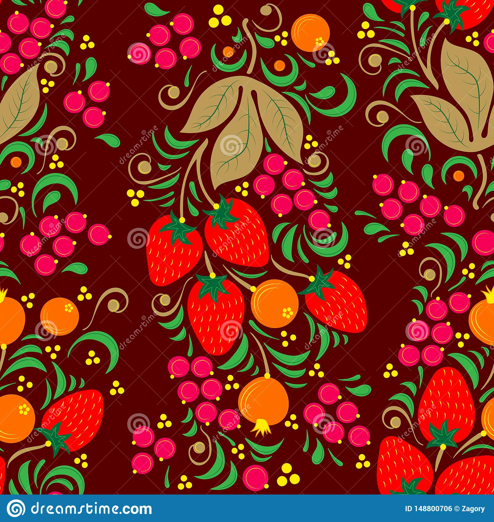 Seamless illustration with  floral pattern in folk painting style, flowers, leaves and berries on dark Burgundy background