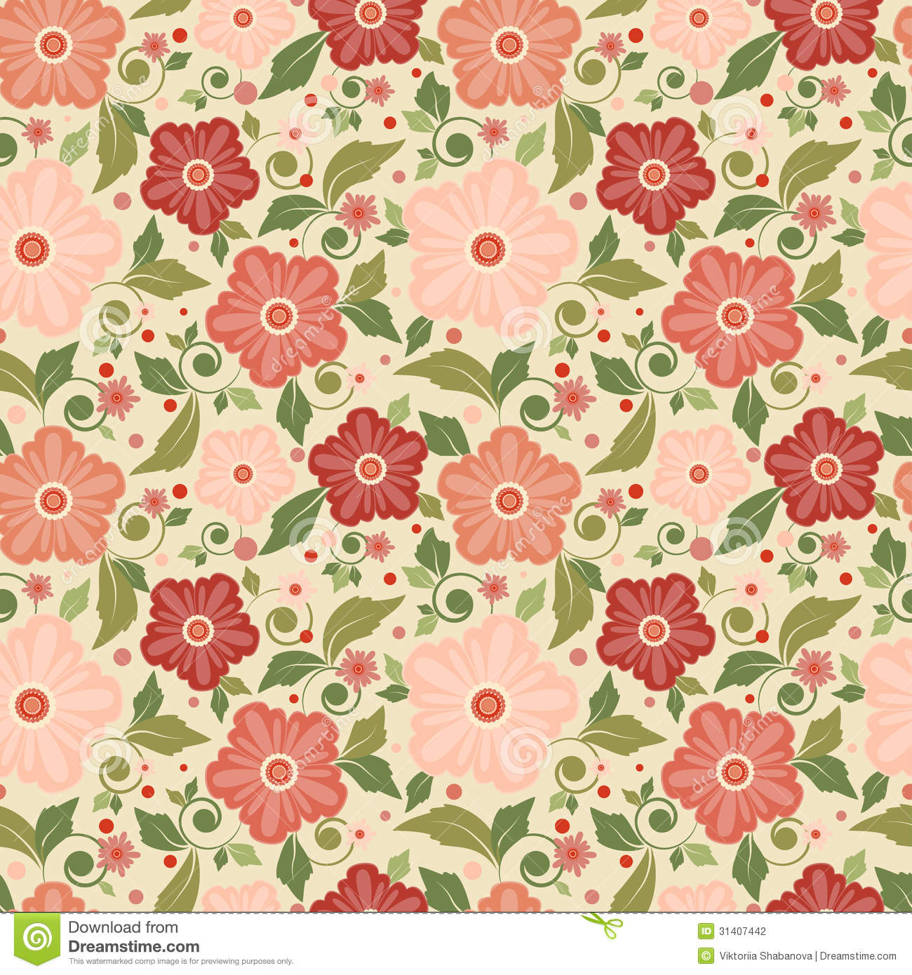 Seamless Floral Pattern With Geometric Stylized Flowers