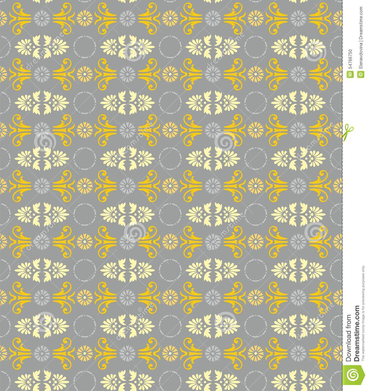 Yellow And Gray Floral Pattern Seamless floral pattern  gray