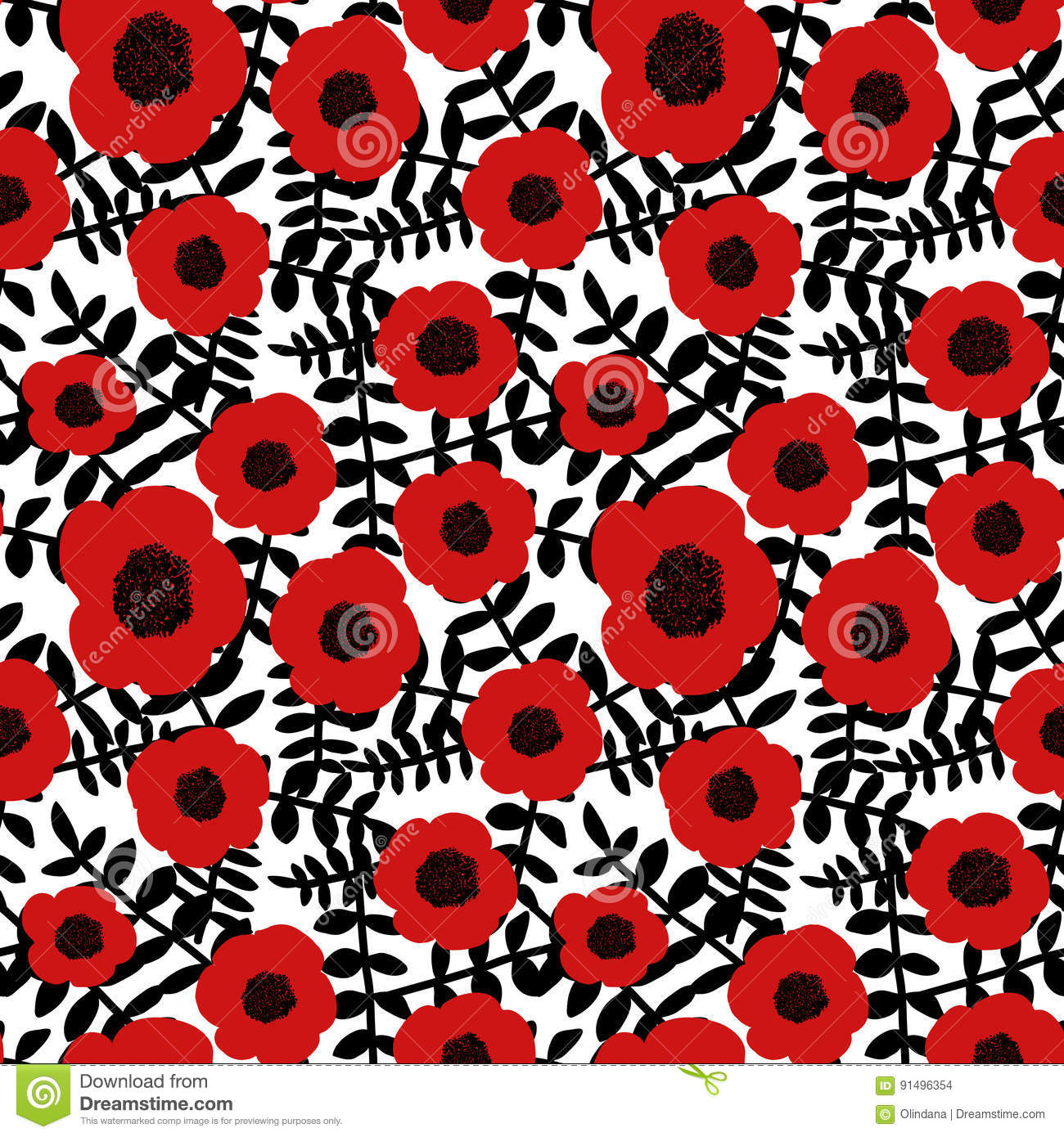 Seamless floral pattern hand drawn abstract red poppy flowers black twigs leaves white background, fabric, wallpaper