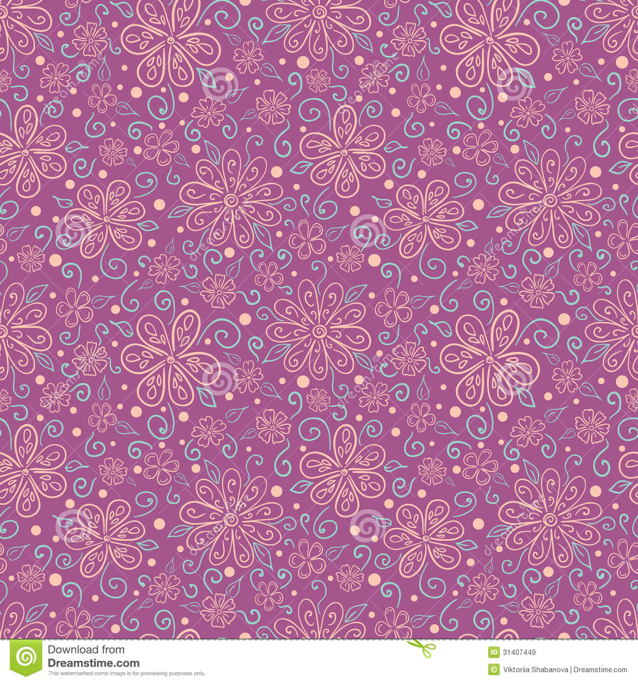 seamless floral pattern with hand drawn stylized flowers