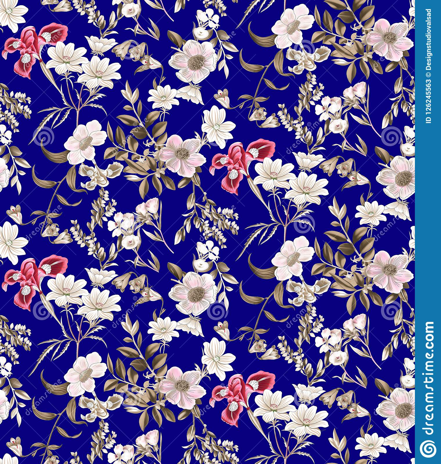 Seamless Floral Pattern On Navy Background Stock Illustration