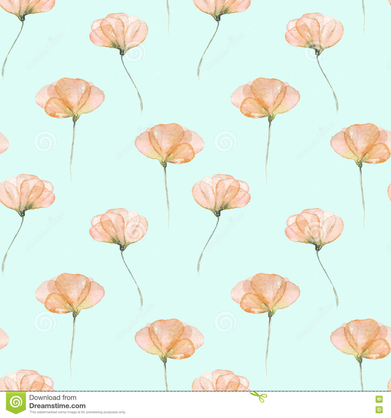 Seamless Floral Pattern With Pink Tender Flowers Stock Illustration