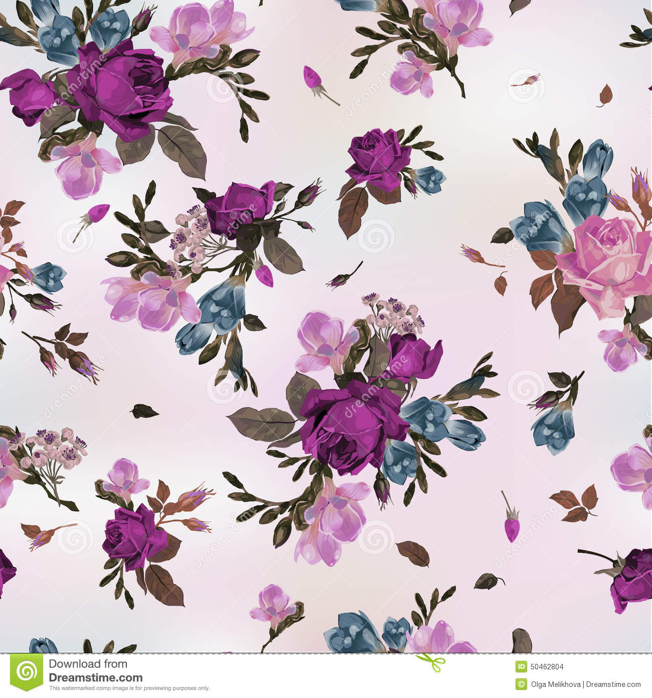Seamless pink floral pattern - photo#54