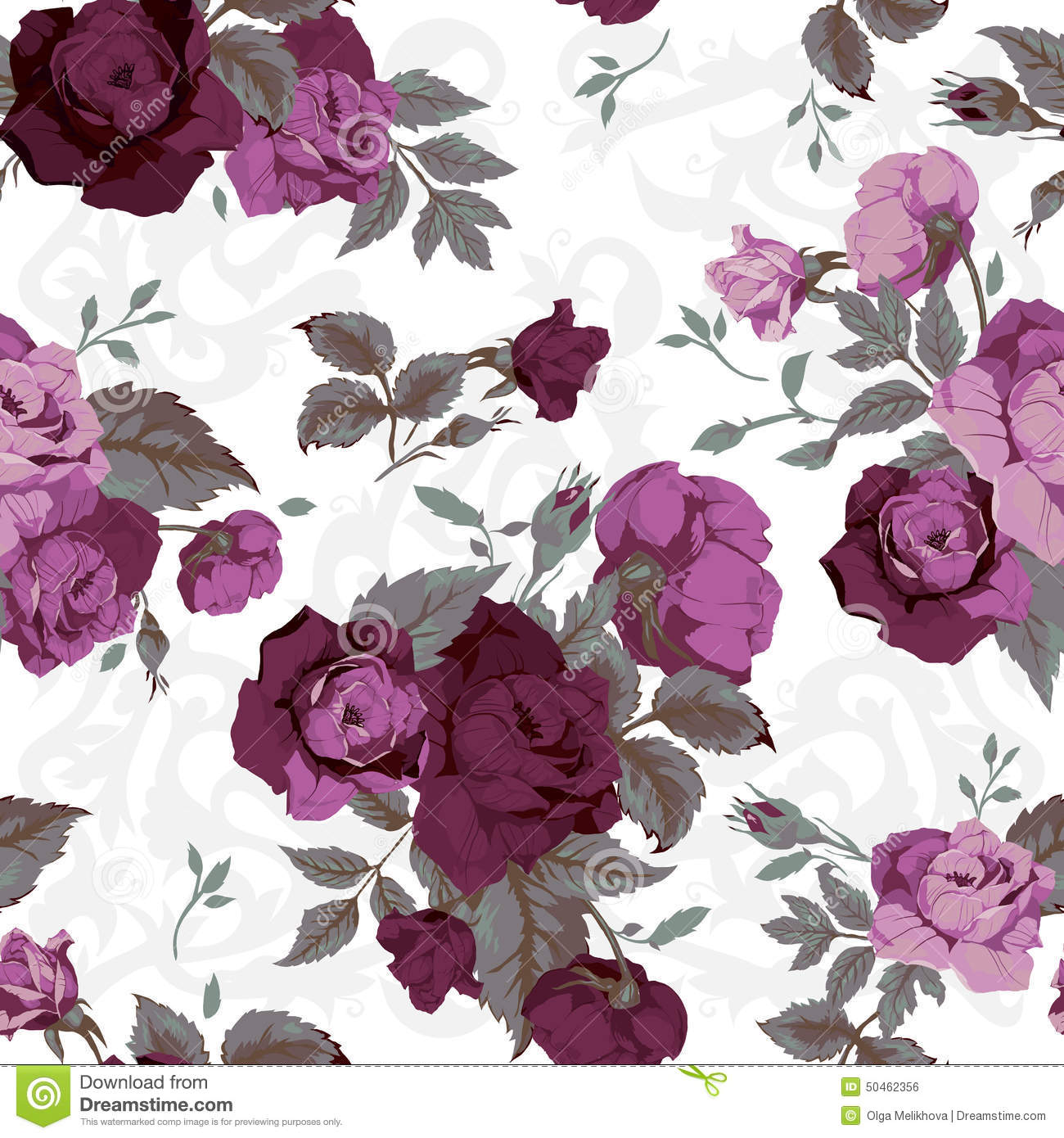 Seamless Floral Pattern With Purple Roses On White Background W