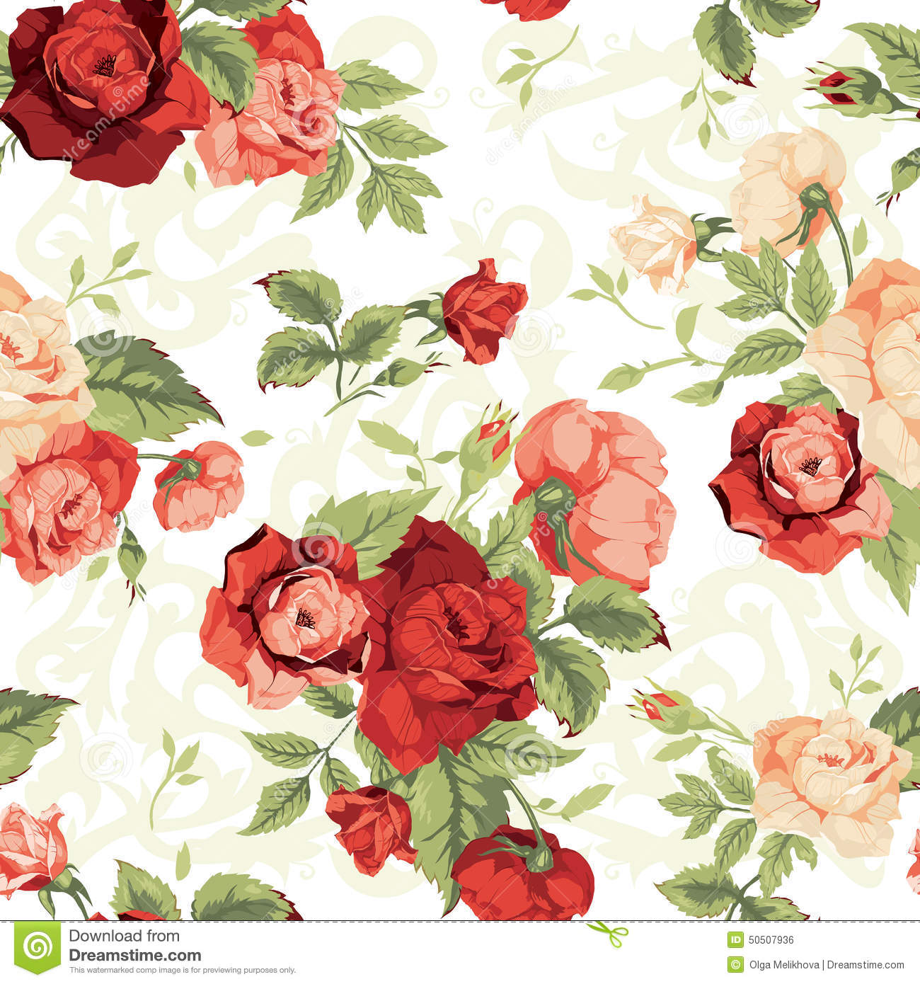 Seamless floral pattern with red and orange roses on white background