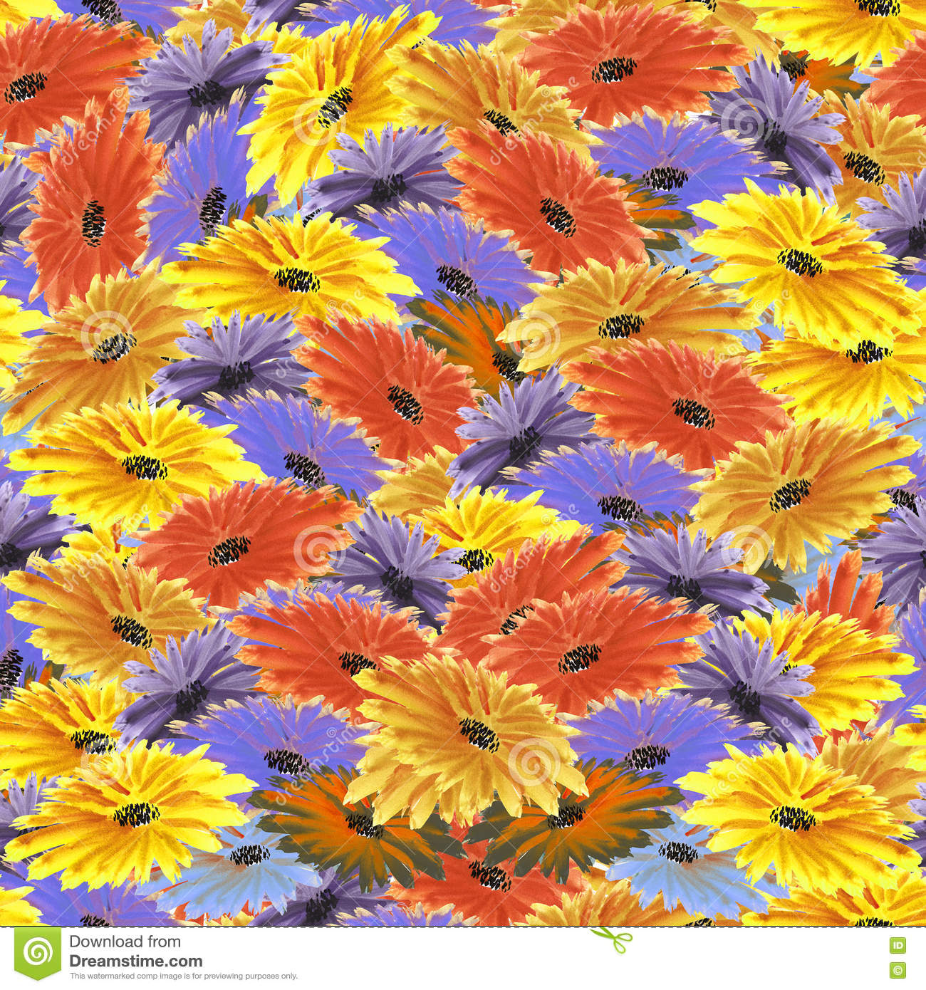 Floral Pattern Red Orange Yellow Violet Purple Blue Flowers