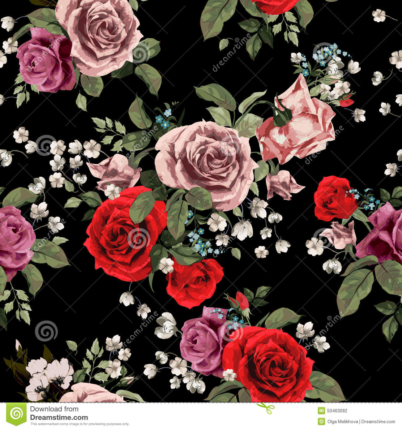 Seamless Floral Pattern With Red And Pink Roses On Black