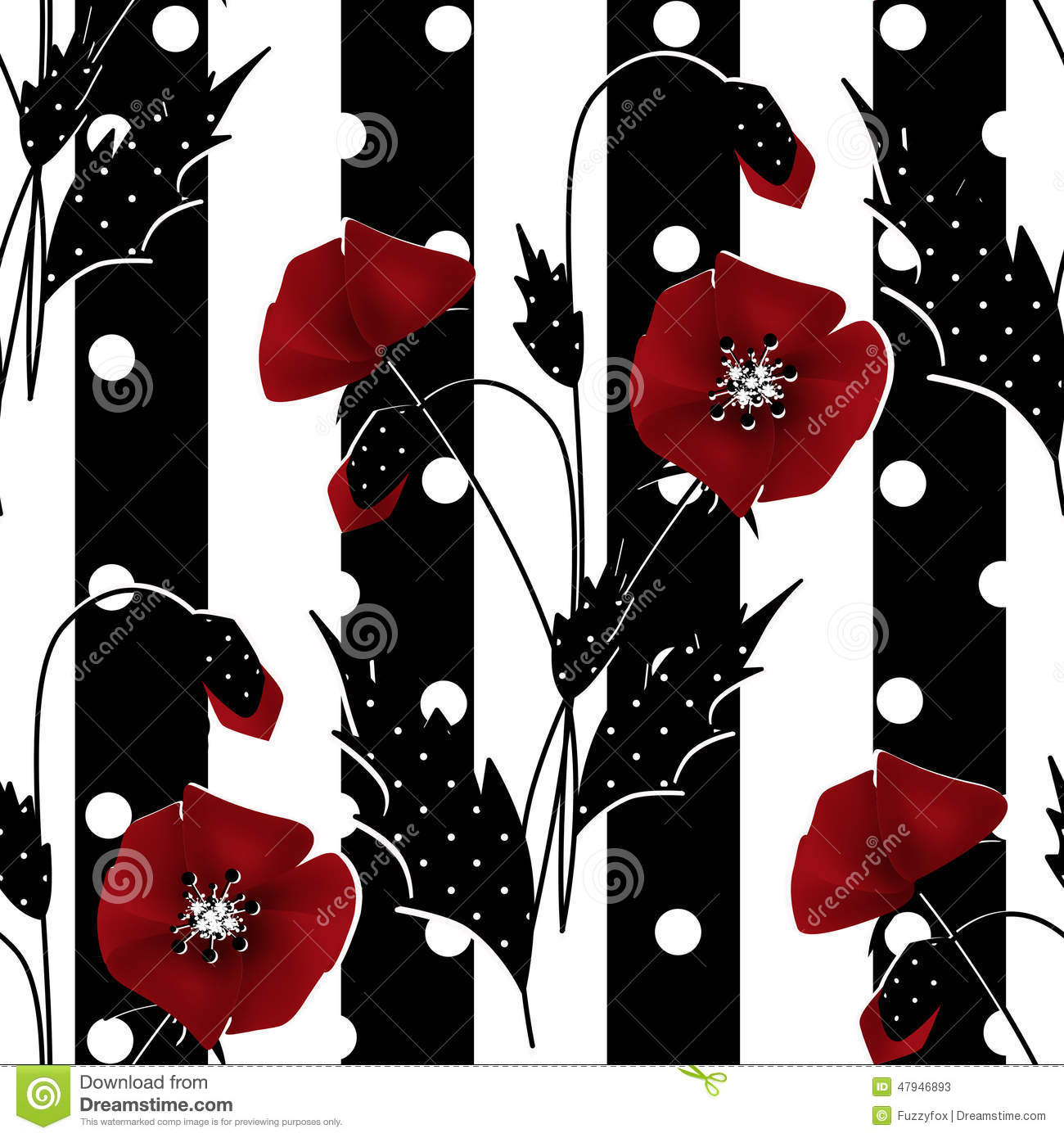 Seamless Floral Pattern With Red Poppies Striped Background Stock