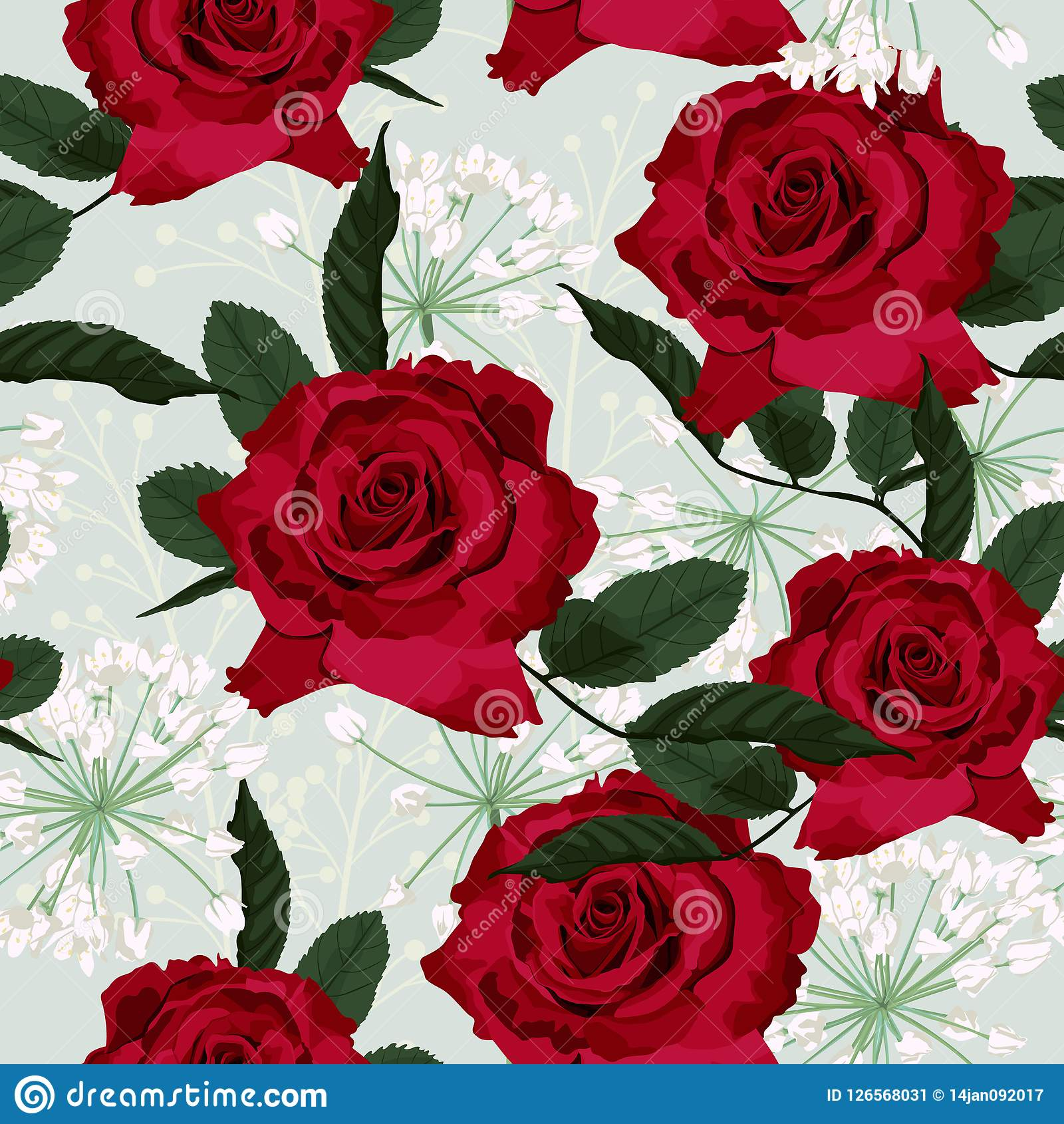 Seamless Floral Pattern With Red Roses And White Herbs On