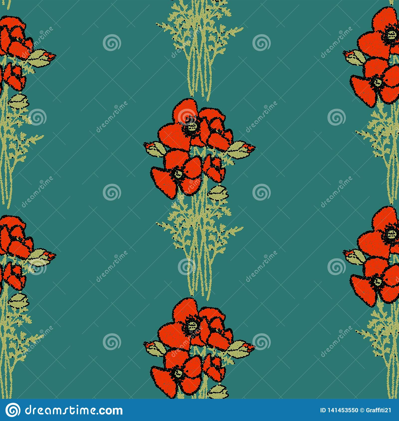 Seamless Floral Pattern. retro style Red poppies pattern with poppy flowers and green foliage on beige. Floral seamless background