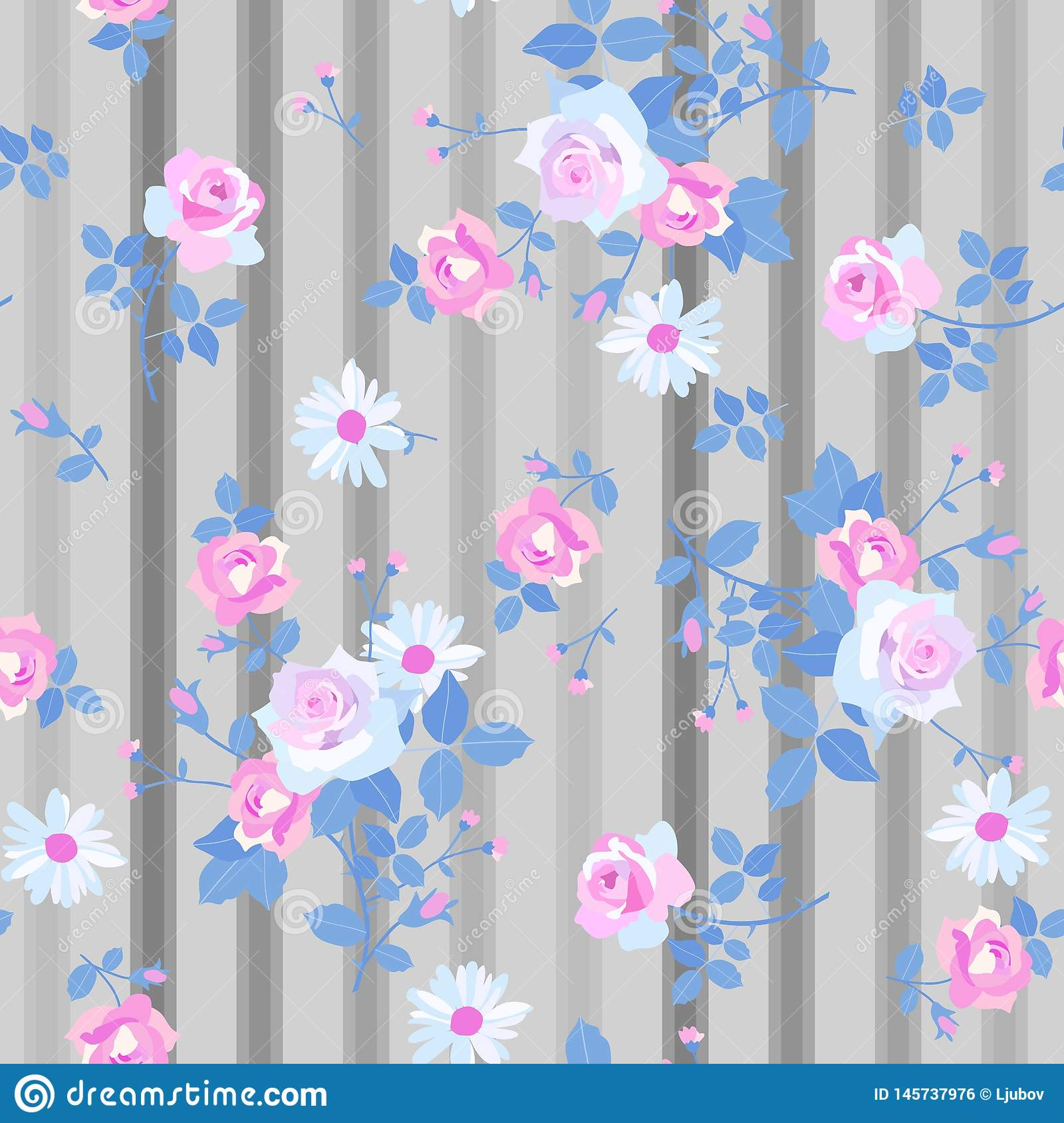 Seamless floral pattern with romantic bunches of rose and daisy flowers on striped grey background. Print for fabric