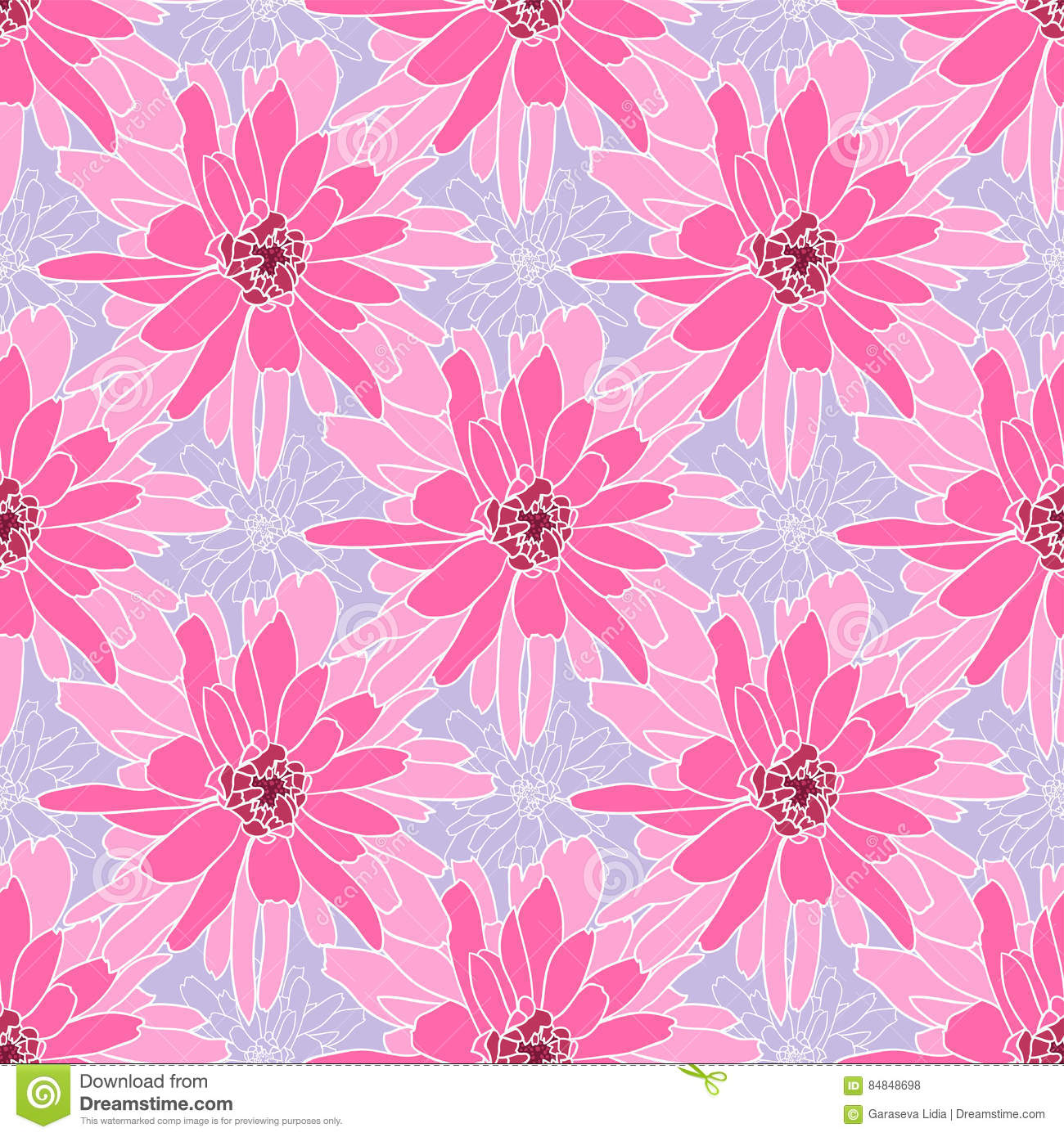 Pink floral seamless vector background floral hrysanthemum seamless - Seamless Floral Pattern With Rosy Chrysanthemum Stock Vector