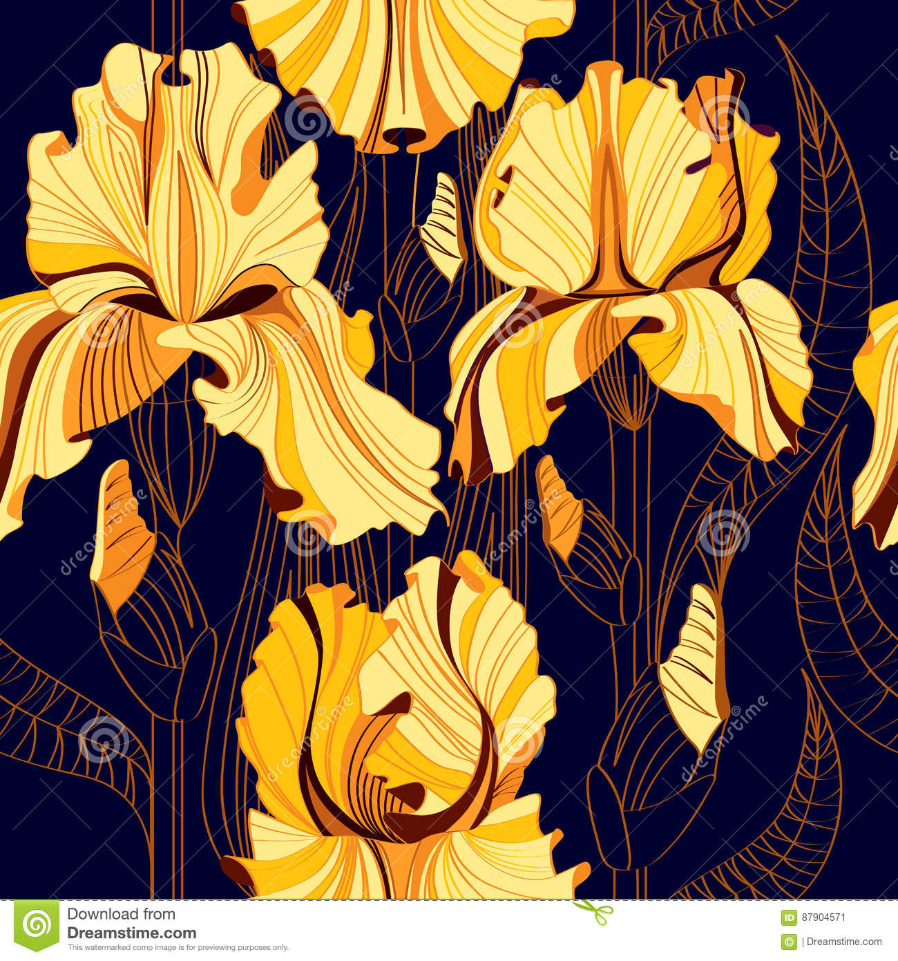 Seamless floral pattern with spring flowers. Vector background with yellow irises.