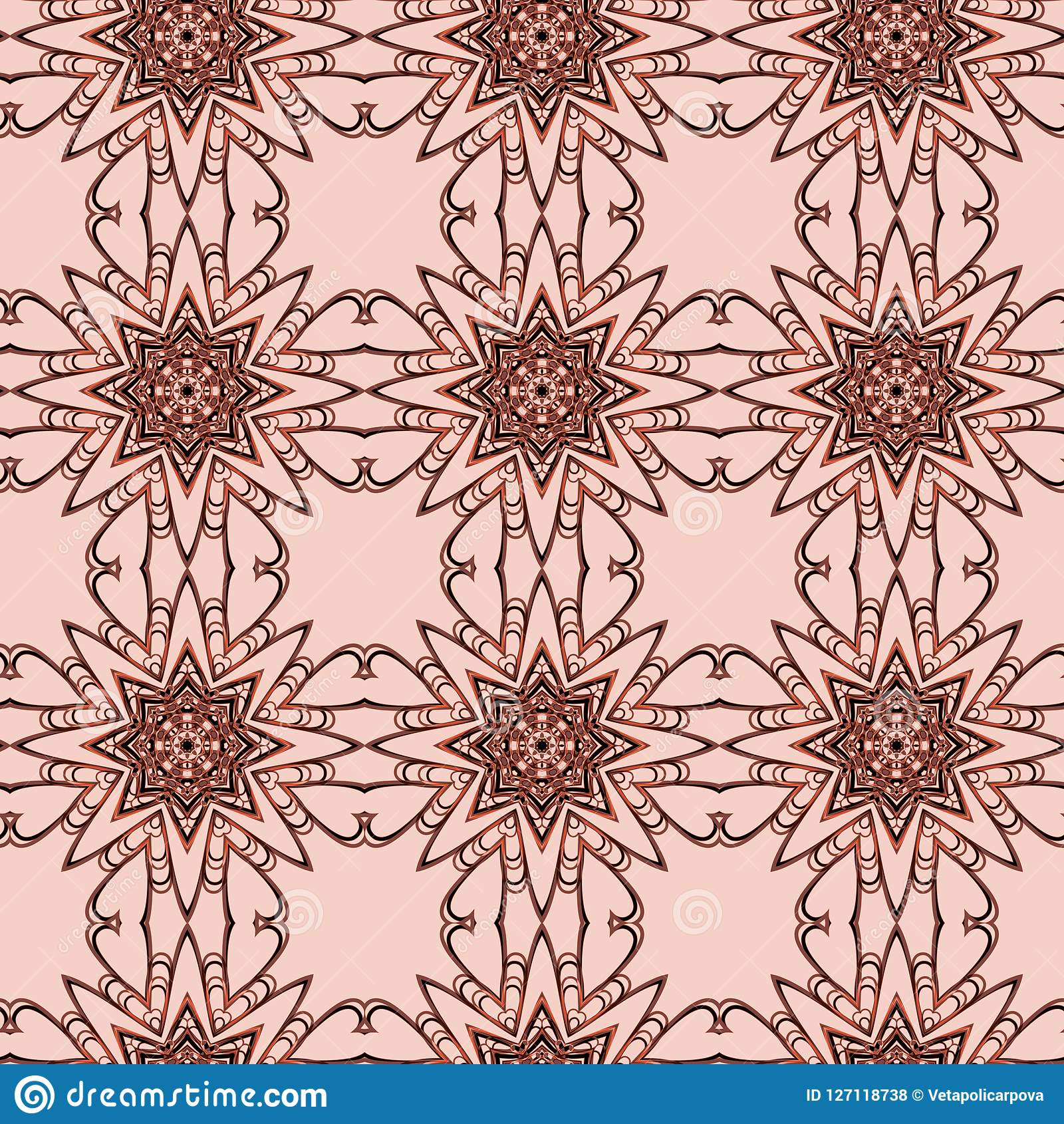 Seamless Floral Pattern With A Variety Of Floral Motifs Stock
