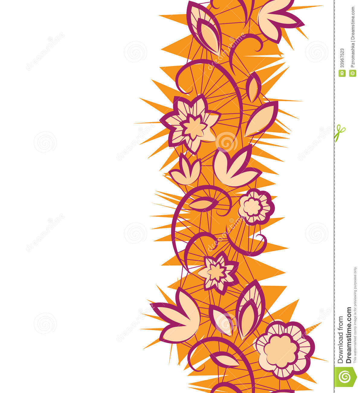 Vertical Flower Pattern Seamless Floral Patter...