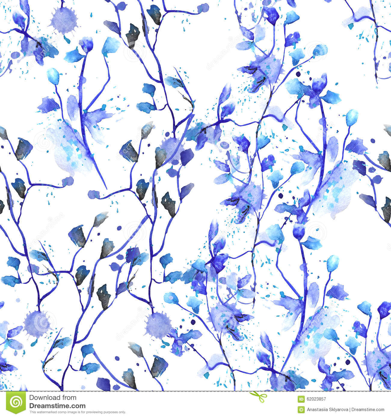 Seamless floral pattern with watercolor hand-draw blue flowers on the branches with blue leaves painted with blots
