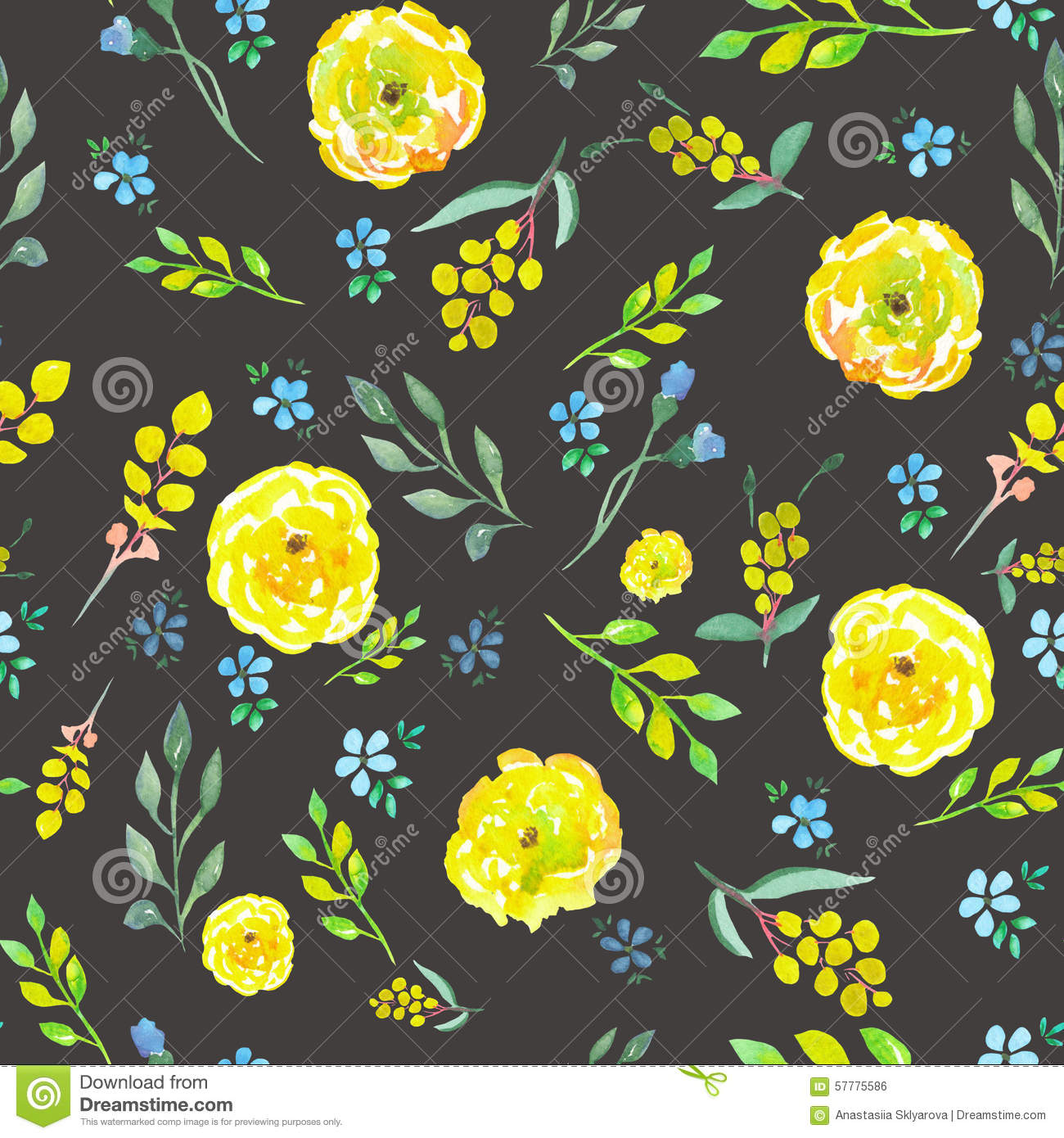 Seamless Floral Pattern With Watercolor Yellow And Blue Flowers