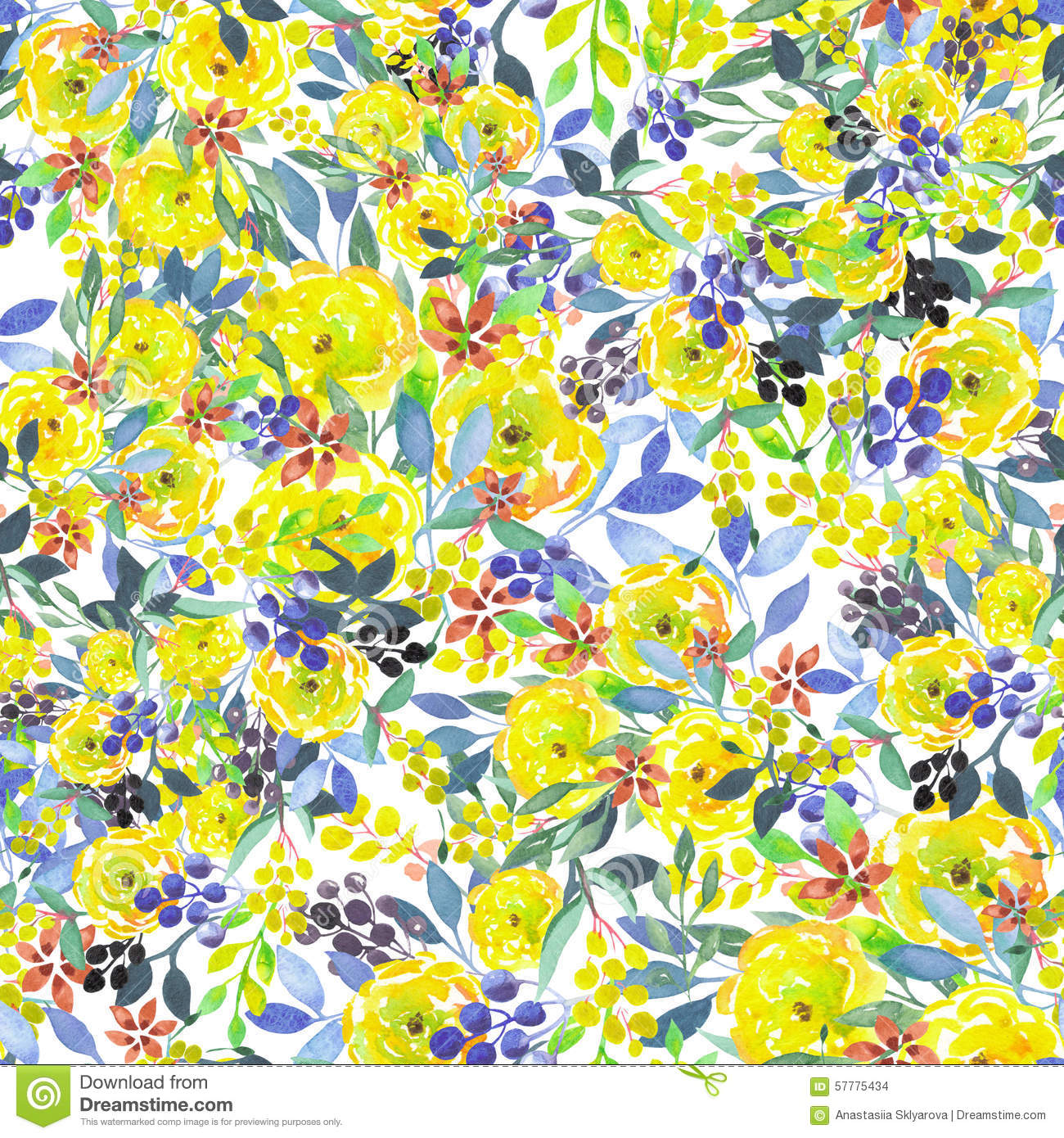 Seamless Floral Pattern With Watercolor Yellow Flowers ...