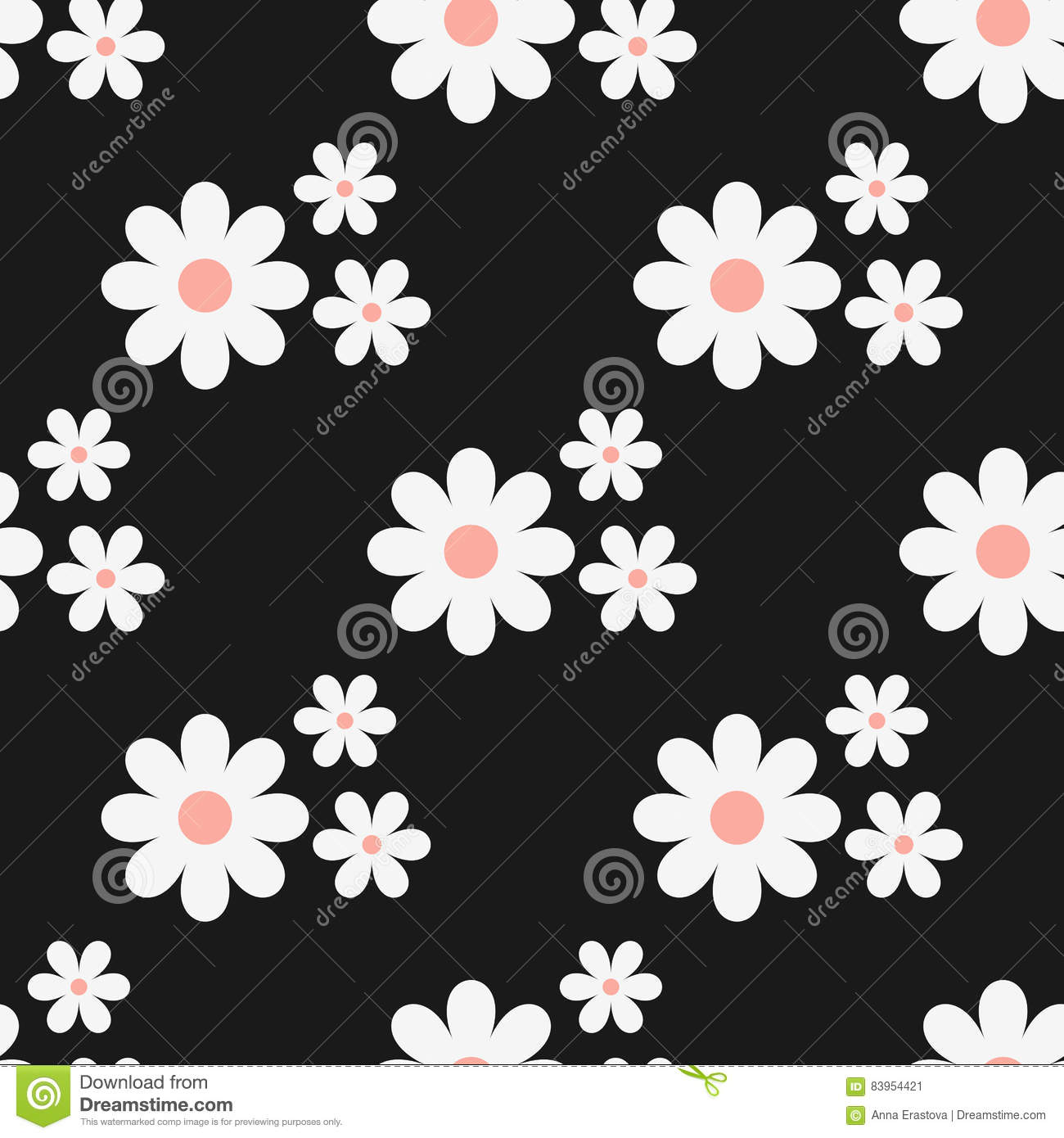 Seamless Floral Pattern White Flowers On A Black Background Stock