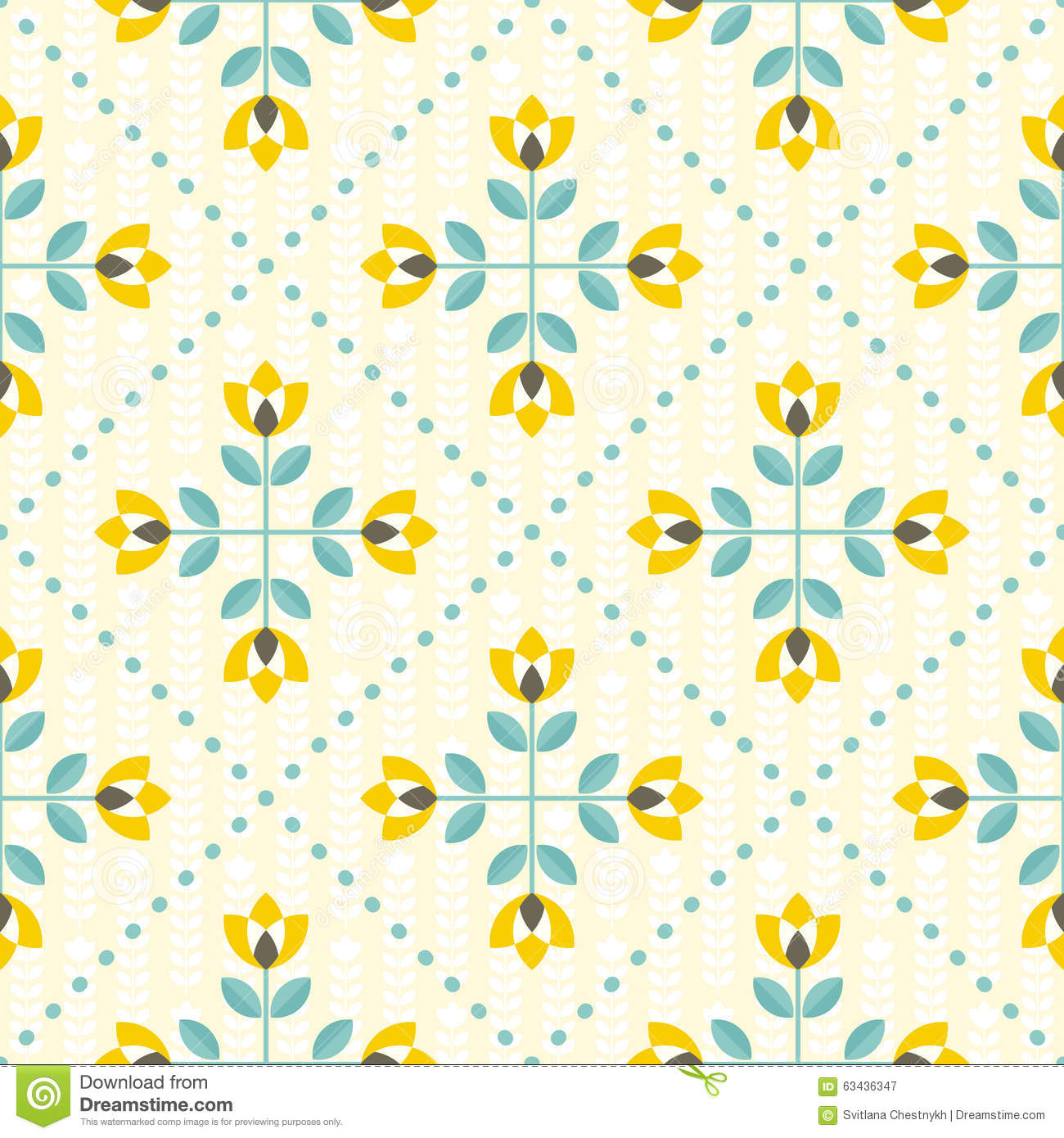 Yellow And Gray Floral Pattern Seamless Floral Patter...