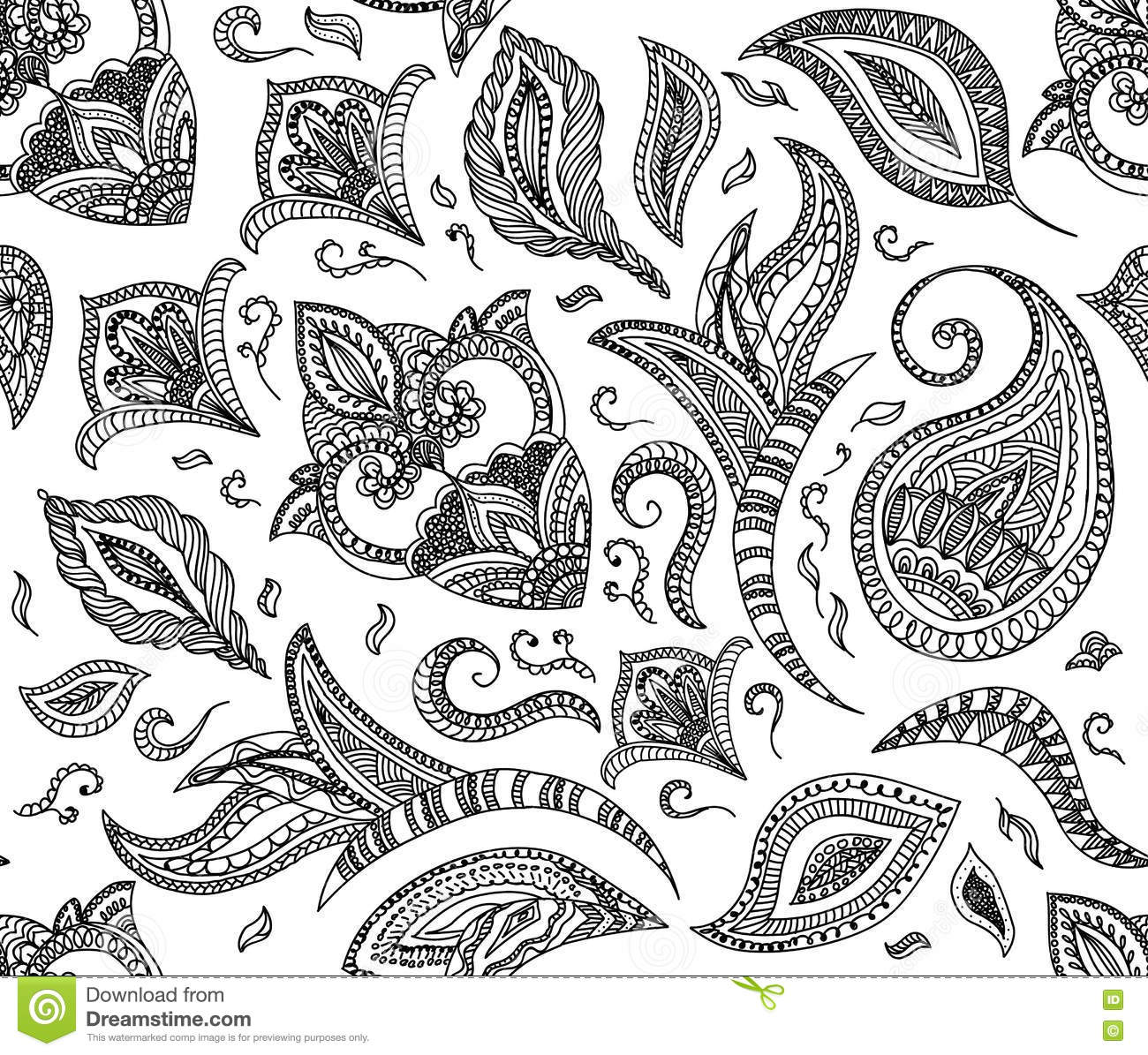 Seamless Floral Retro Background Pattern In Vector. Henna