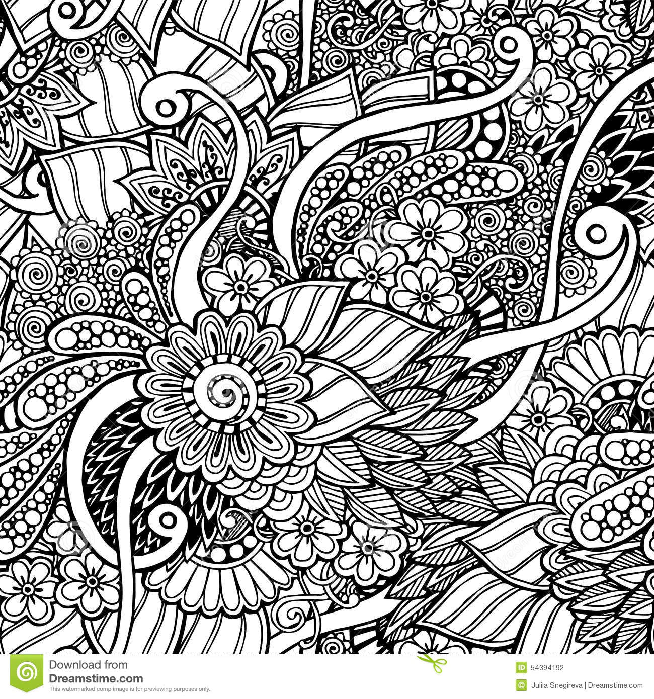 Seamless floral retro doodle black and white stock vector - Doodle dessin ...