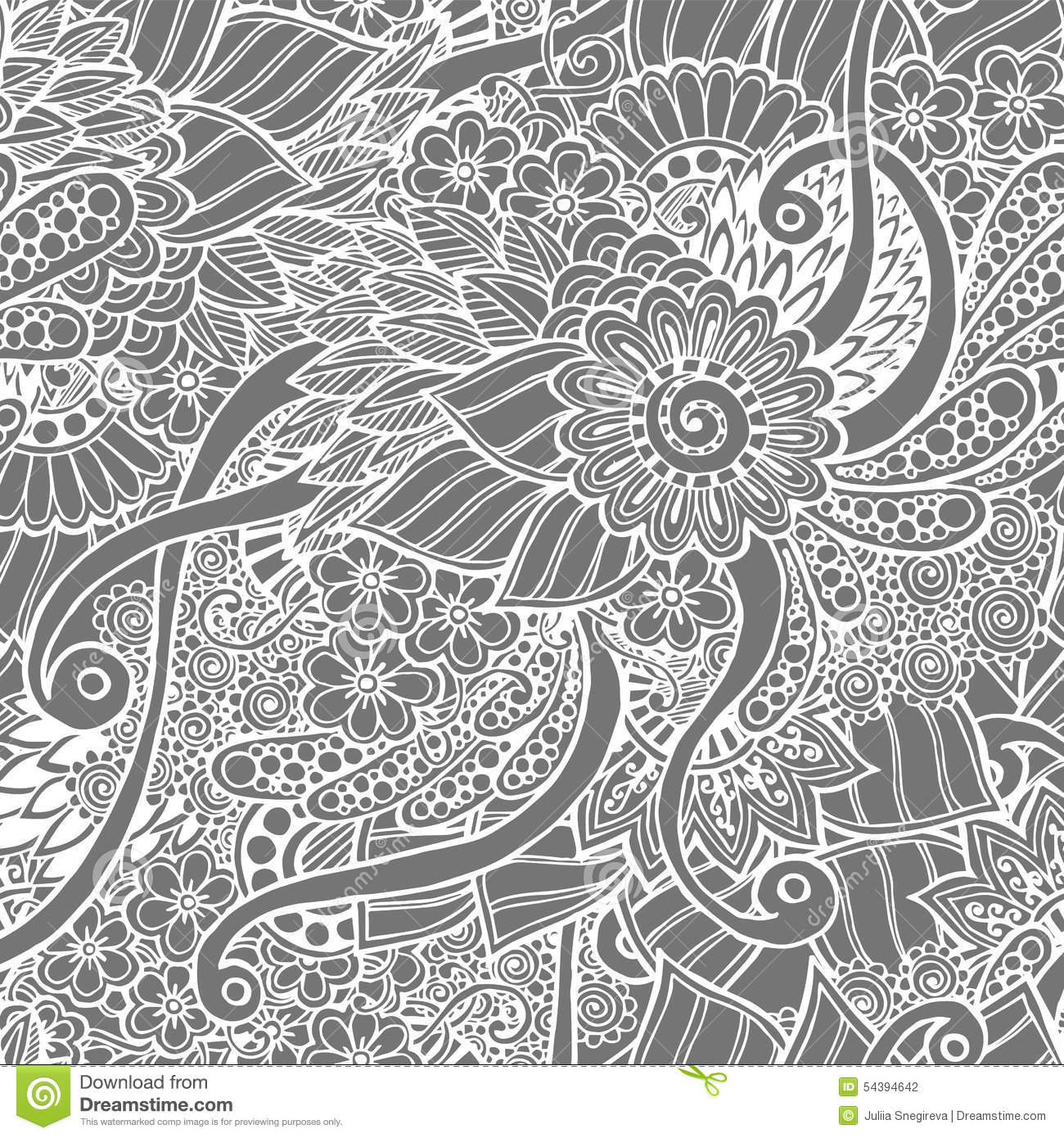 seamless floral retro doodle black and white stock vector image