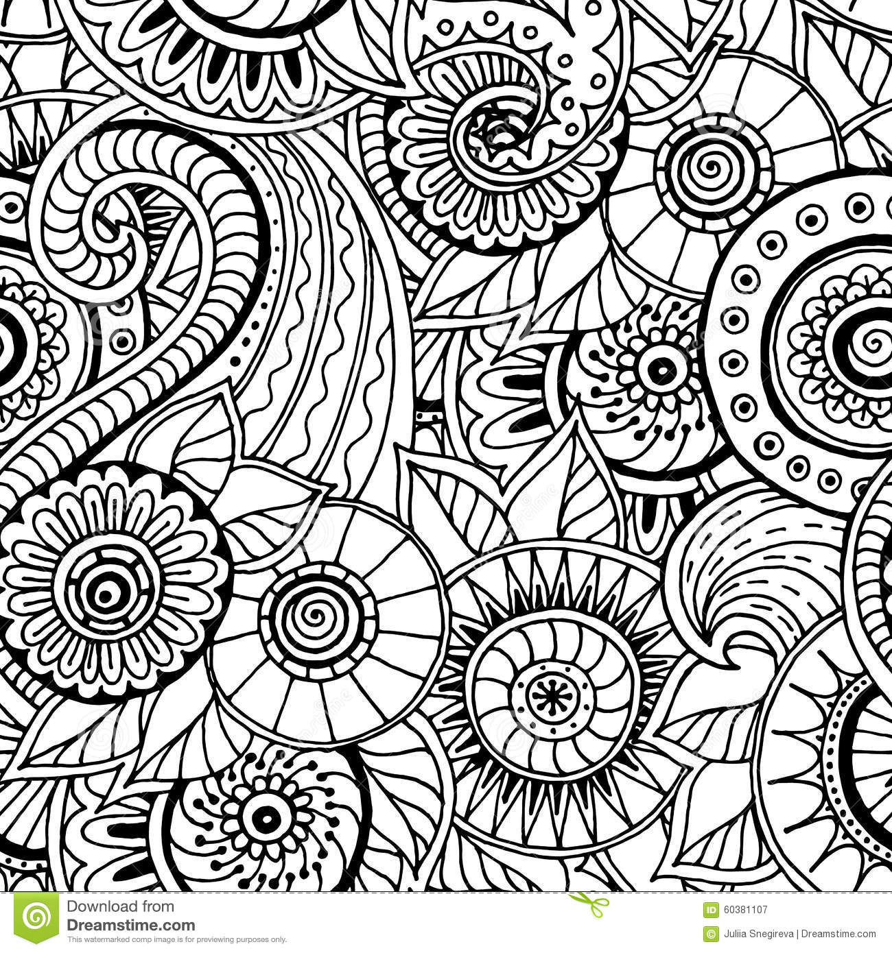 Seamless floral retro doodle black and white pattern in vector stock vector illustration - Black n white designs ...