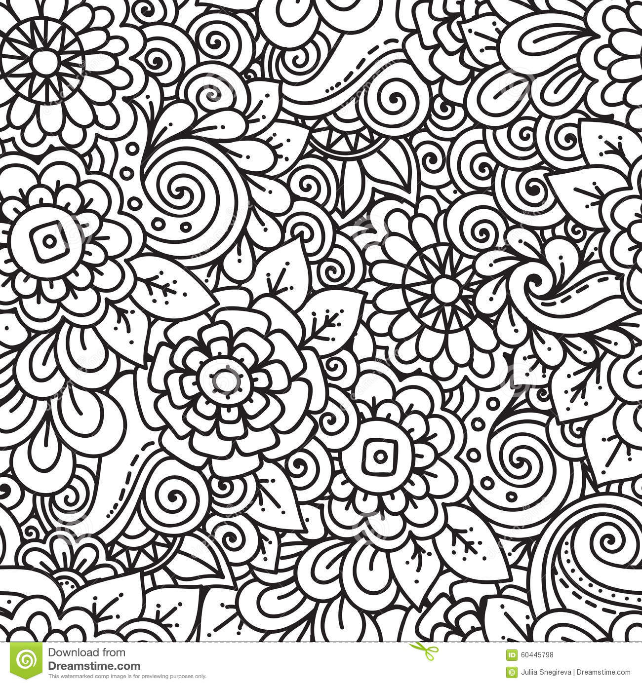 Seamless Floral Retro Doodle Black And White Pattern In