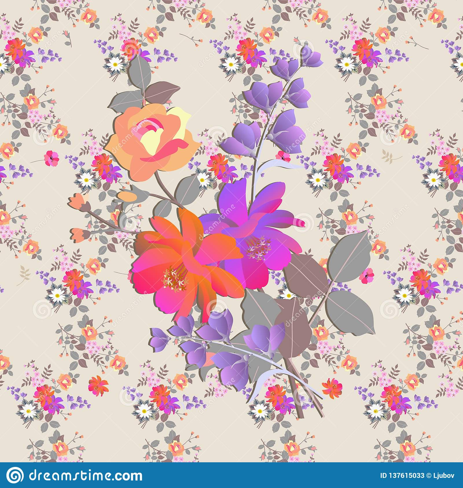 Seamless floral romantic pattern. Bouquets of roses, bell and cosmos flowers in watercolor style. Print for fabric