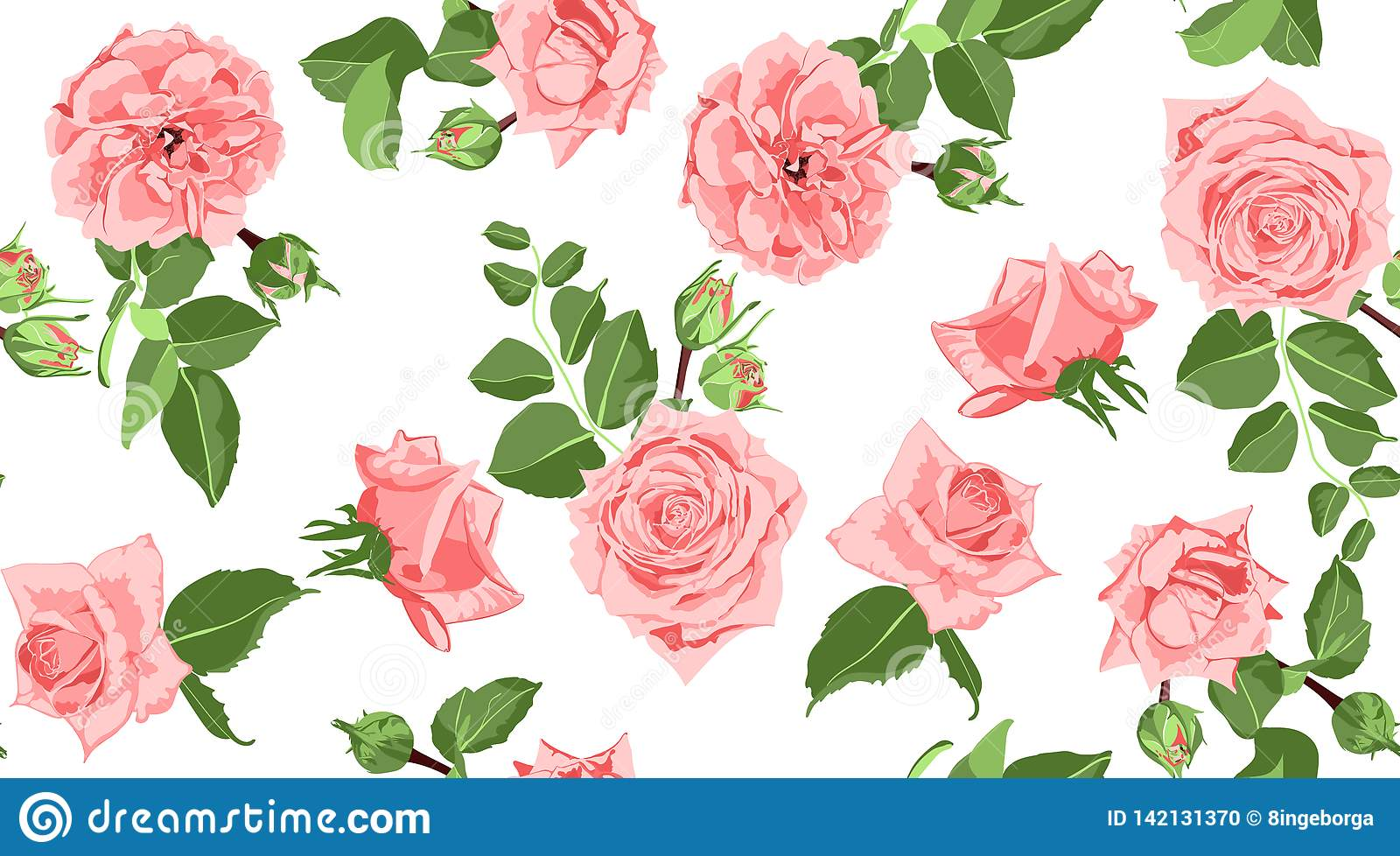 Seamless Floral Rose Pattern with Leaves.