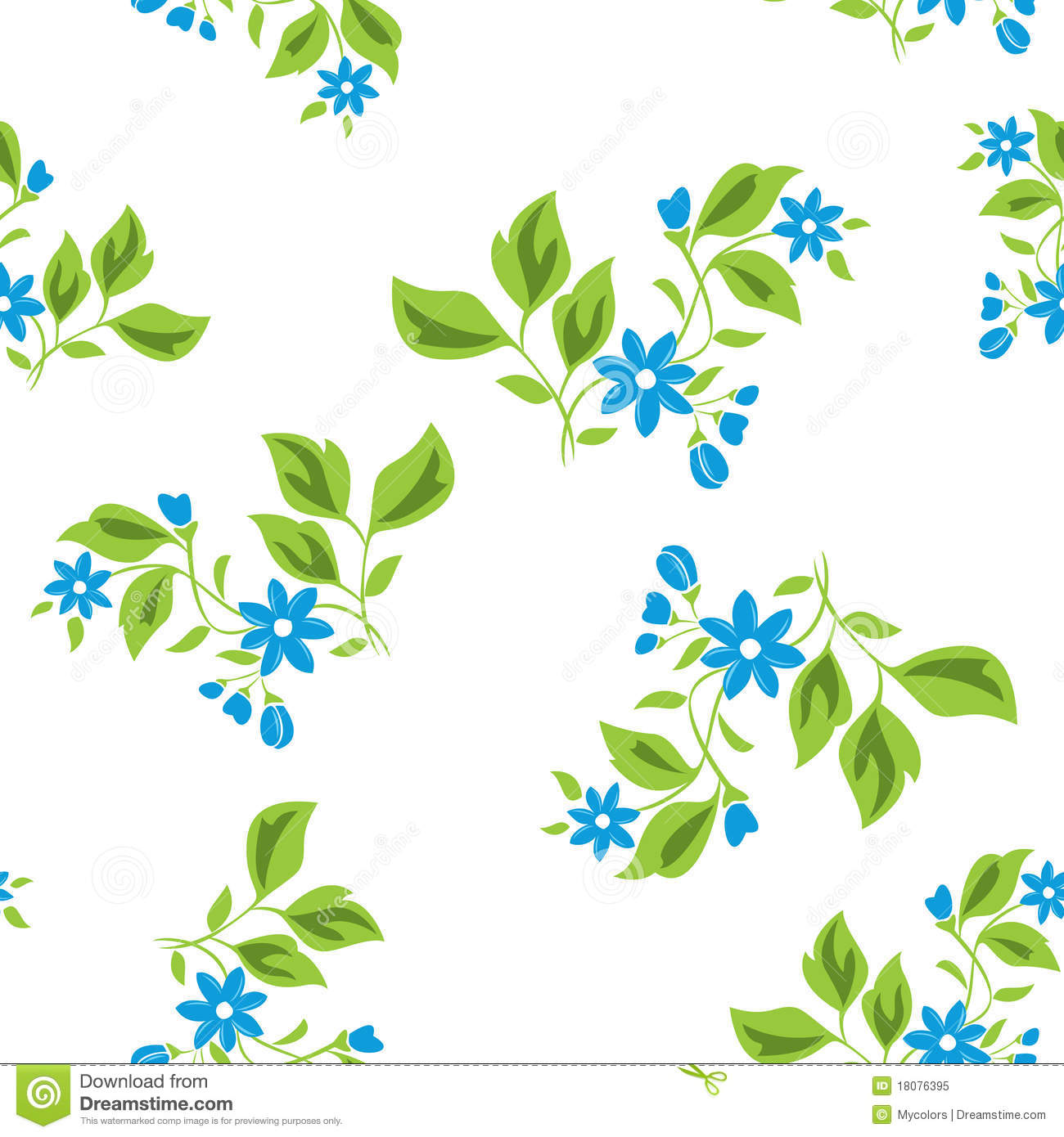 Seamless Floral Texture With Blue Flowers Vector Stock Vector