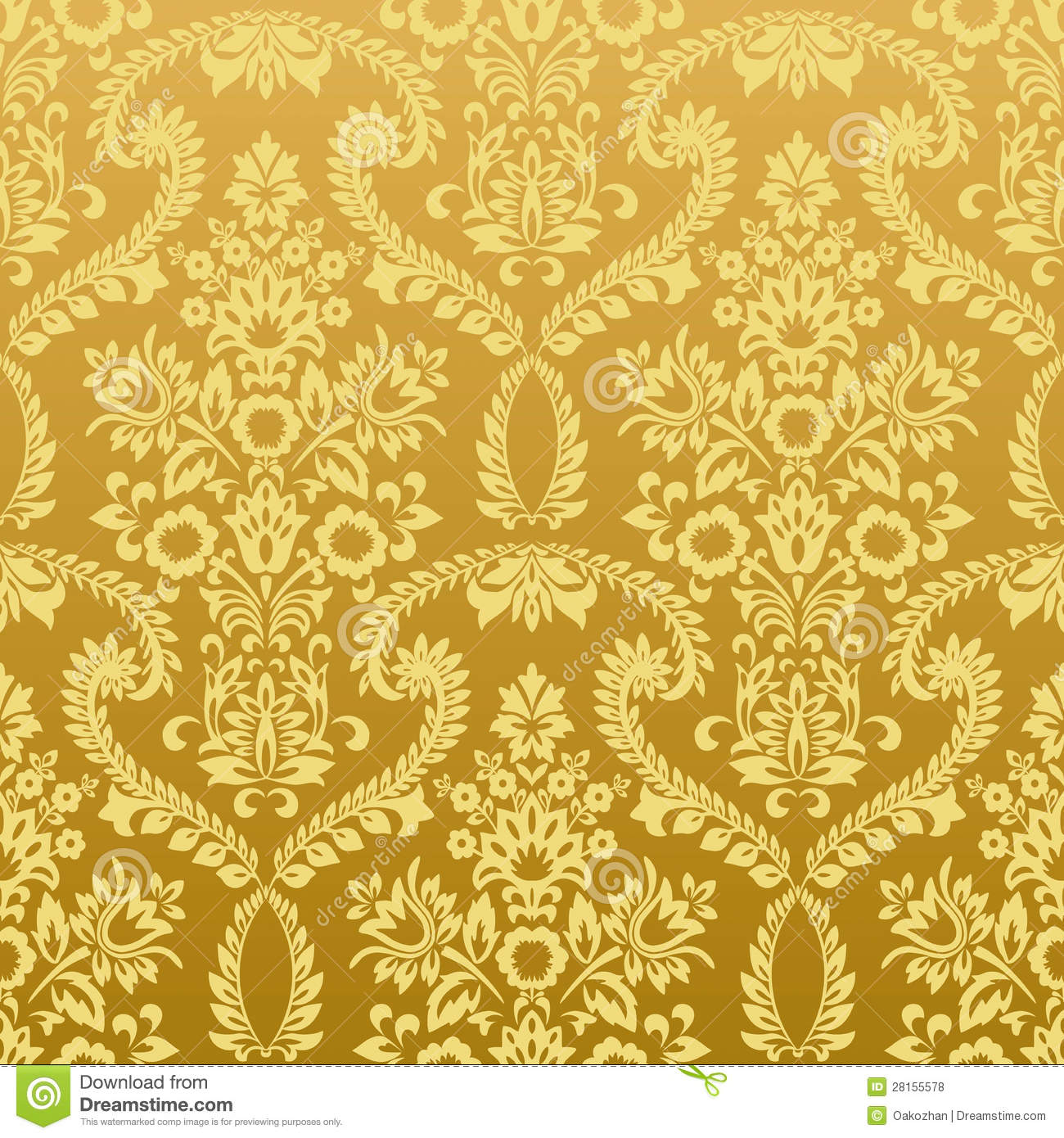 Seamless Floral Vintage Gold Wallpaper Royalty Free Stock