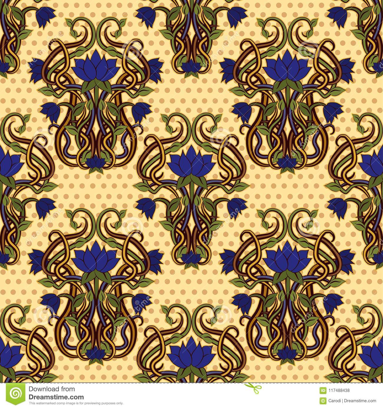 Seamless Floral Wallpaper In Art Nouveau Style Stock Vector ...