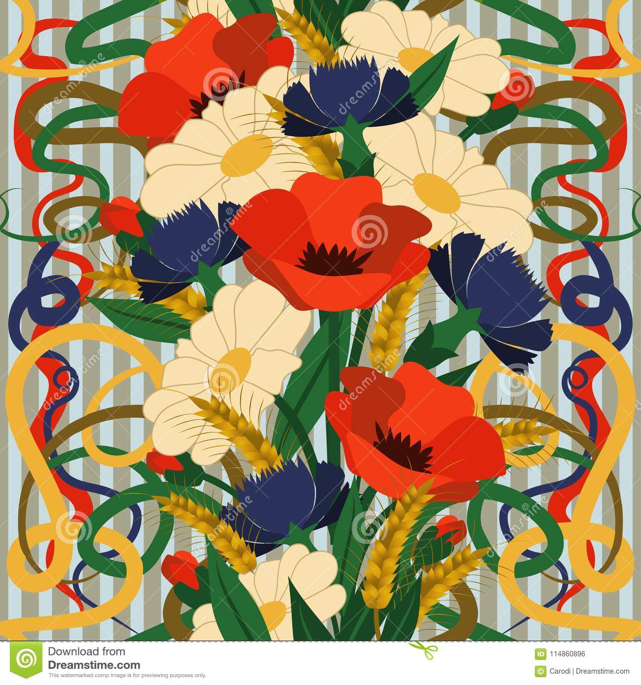 Seamless Floral Wallpaper In Art Nouveau Style Stock Vector