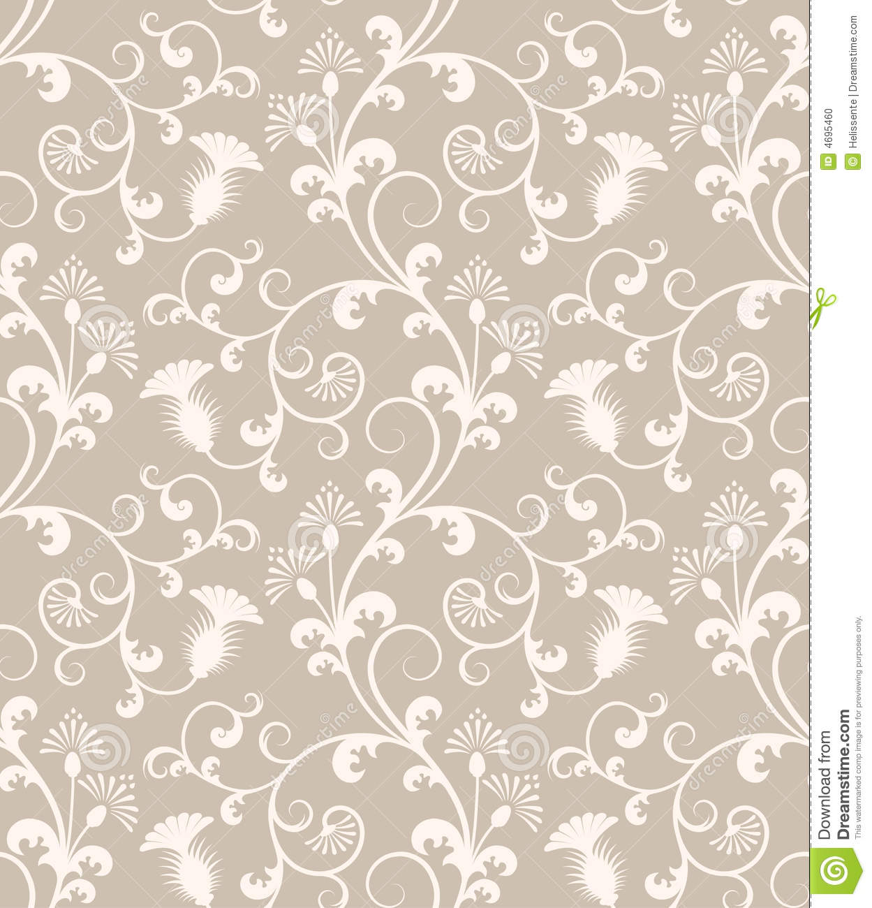 Seamless Floral Wallpaper Pattern Stock Photo