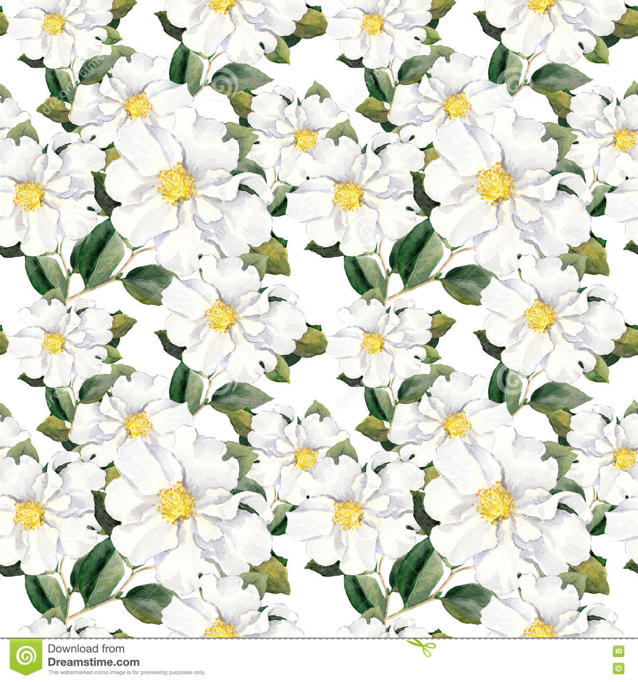 Seamless Floral Wallpaper With White Flowers Magnolia Peonies