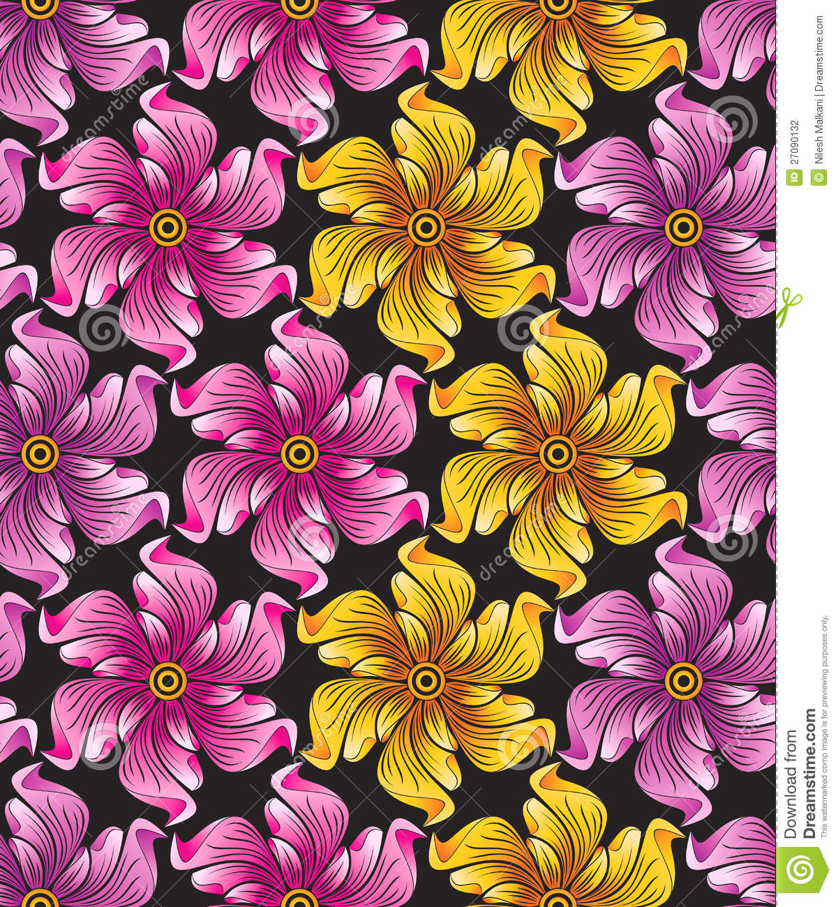 Seamless Flower... Abstract Line Pattern Vector