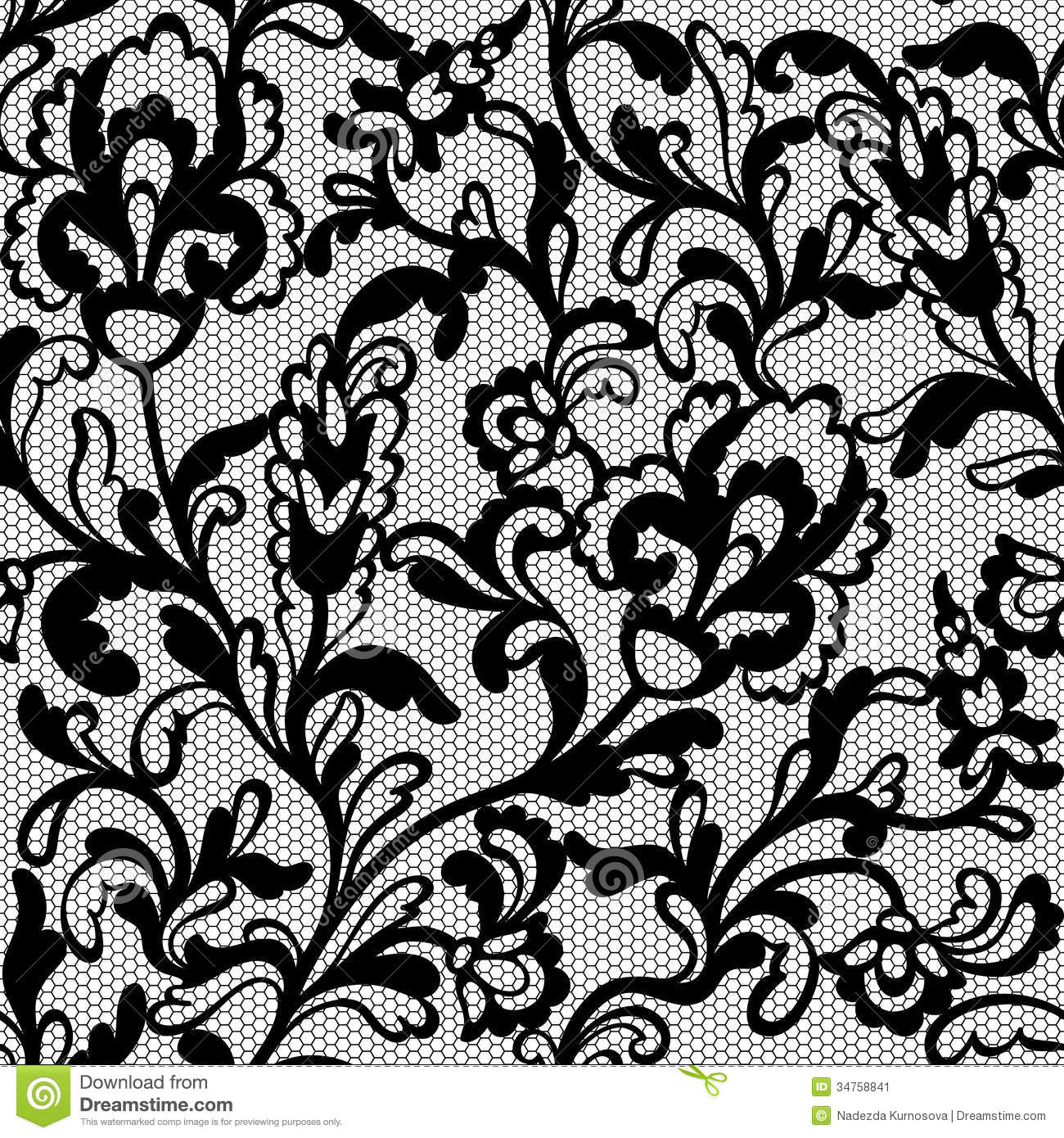 Black Flower Pattern Stock Images: Seamless Flower Lace Pattern Stock Illustration
