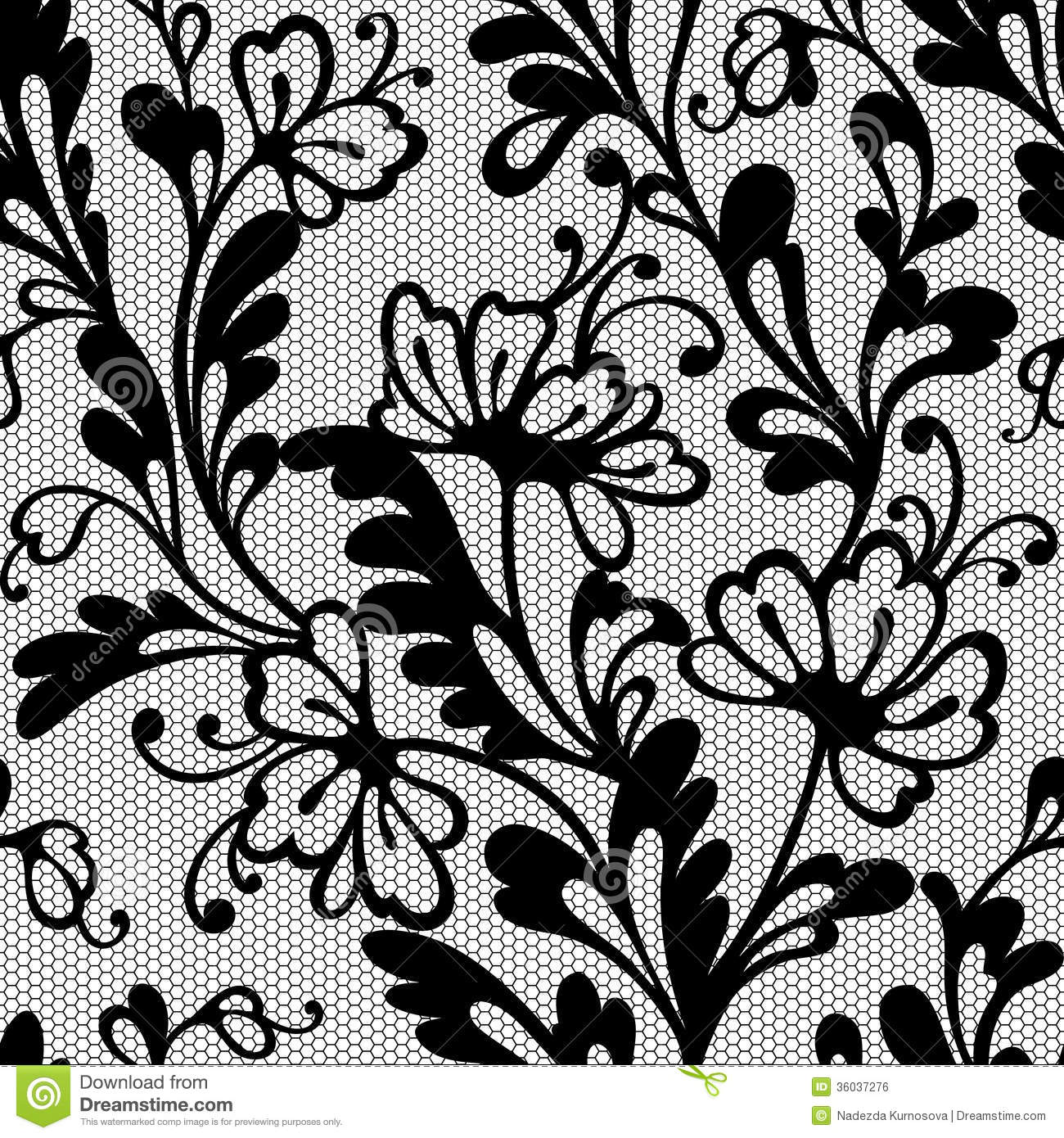 Simple Floral Design Pattern Black And White