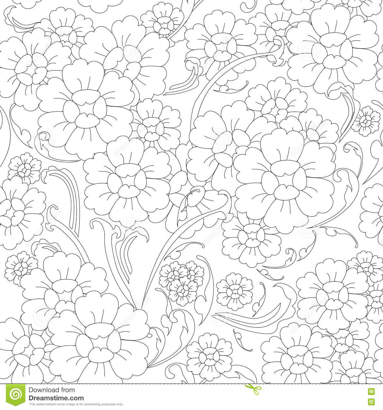 Line Art Flower Vector : Seamless flower line art pattern stock vector image