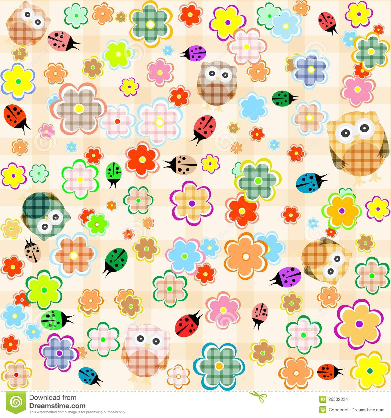 Free Owl Wallpapers: Seamless Flower And Owl Background. Vector Pattern Stock