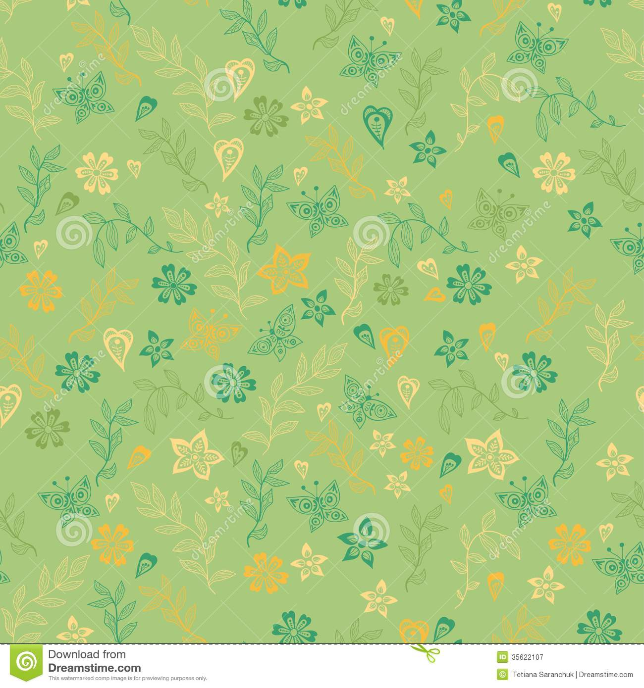 Spring Flower With Green Background Vector 02 Free Download: Seamless Flower Pattern Background In Vector Stock Vector
