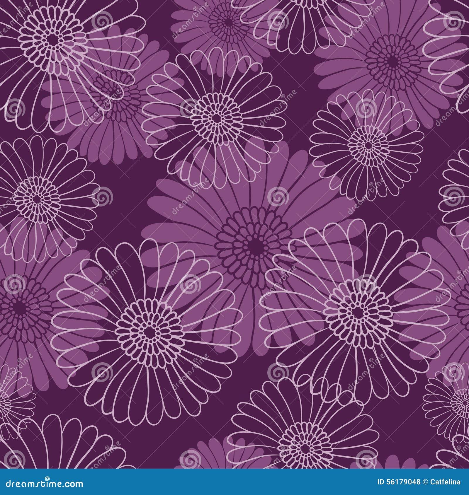 Seamless Flower Pattern On Dark Violet Background Stock Vector
