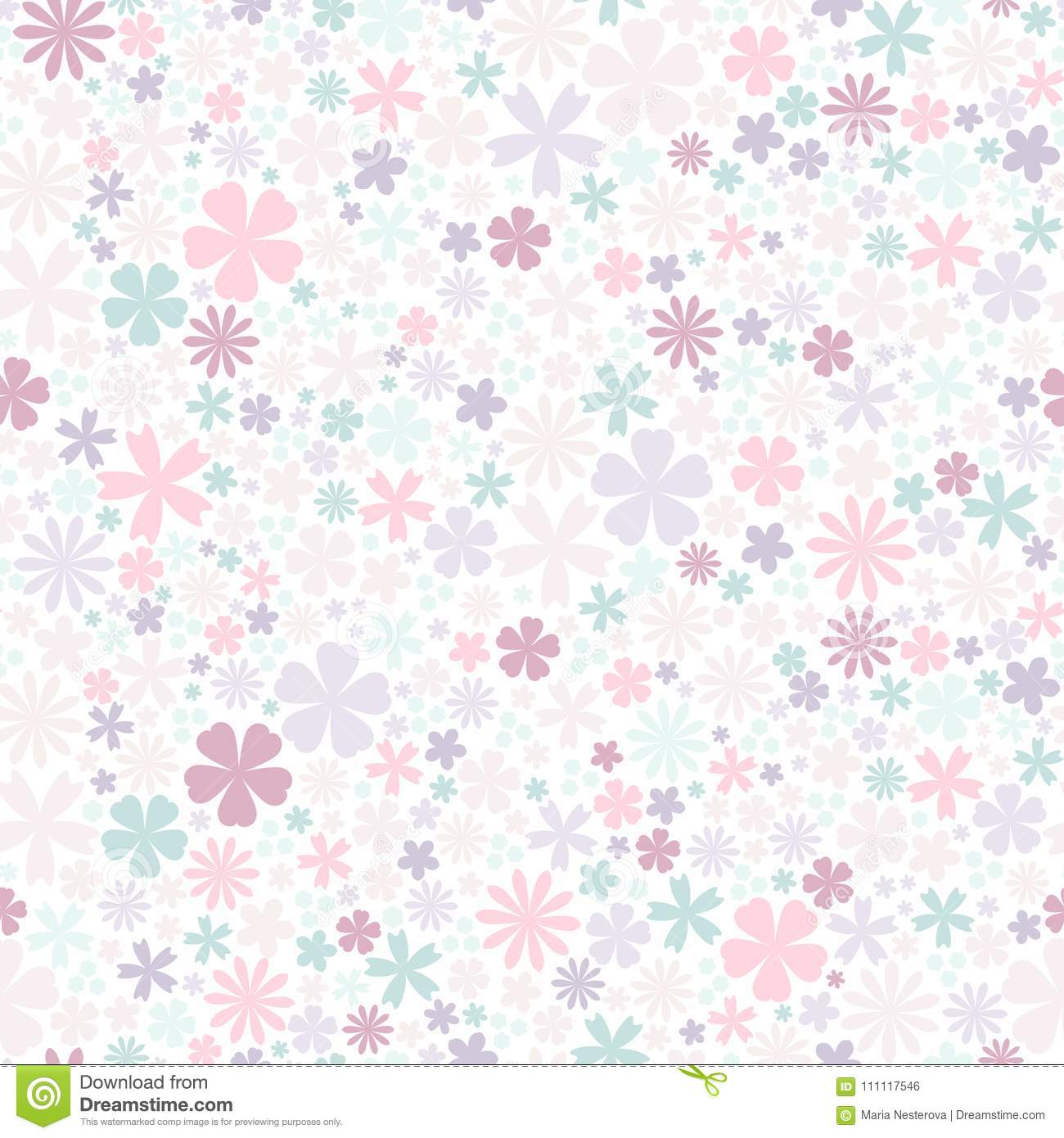 Seamless Flower Pattern Flat Flowers Of Pastel Colors On White