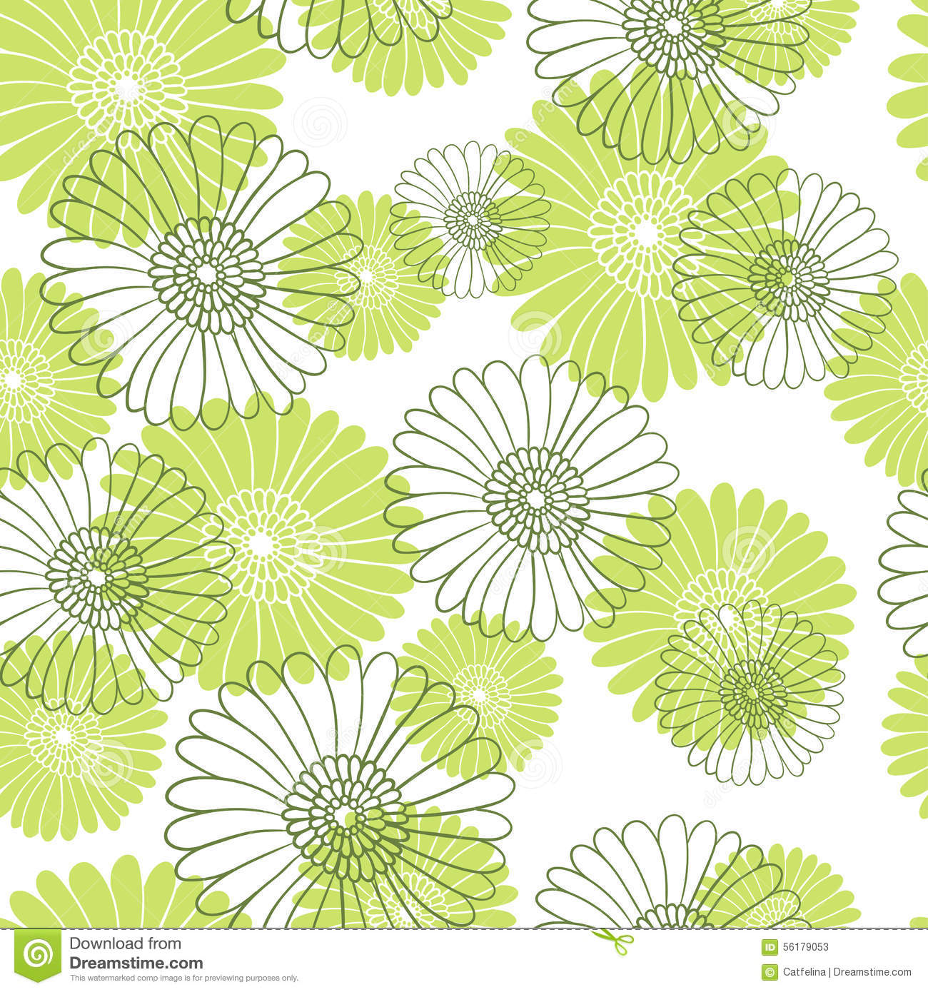 Green and white floral pattern - photo#28