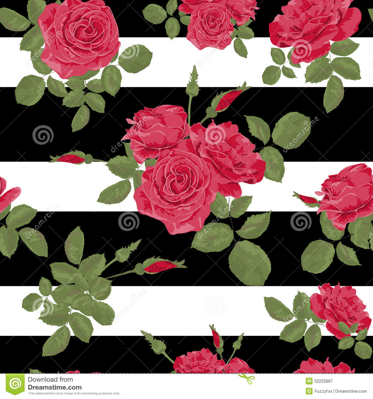 Seamless Flower Red Roses Pattern With Horizontal Stripes Stock